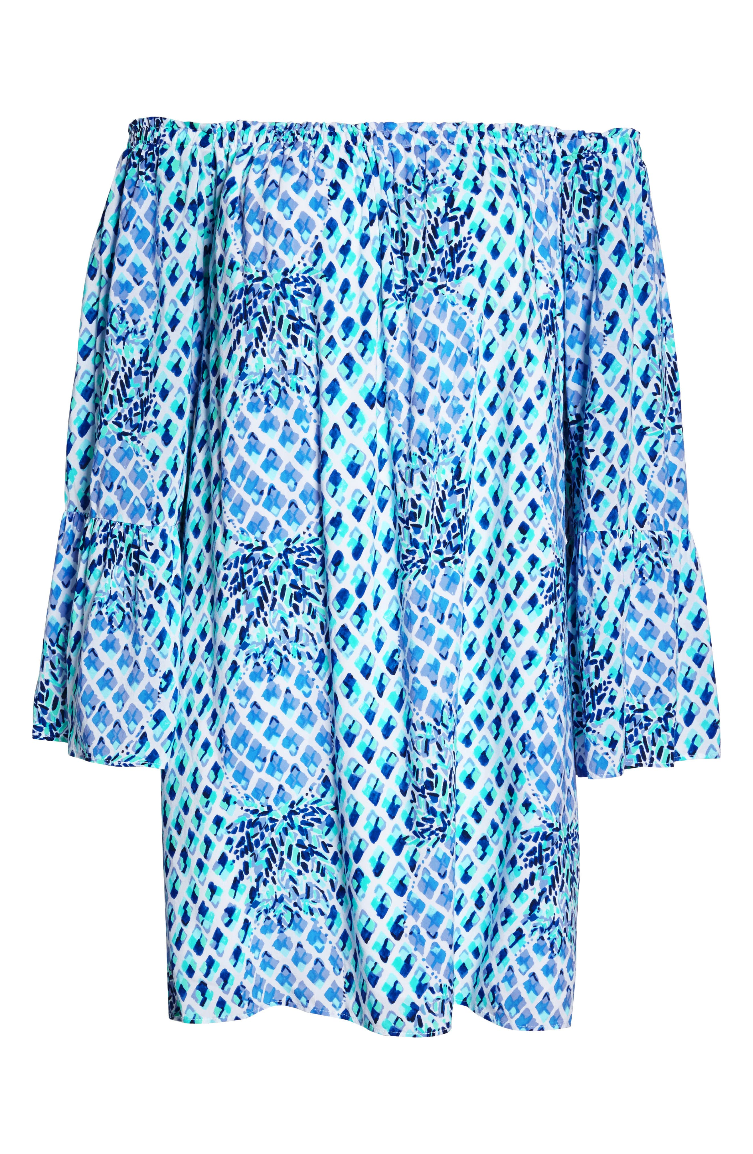 Lilly Pullitzer<sup>®</sup> Nevie Off the Shoulder Dress,                             Alternate thumbnail 7, color,