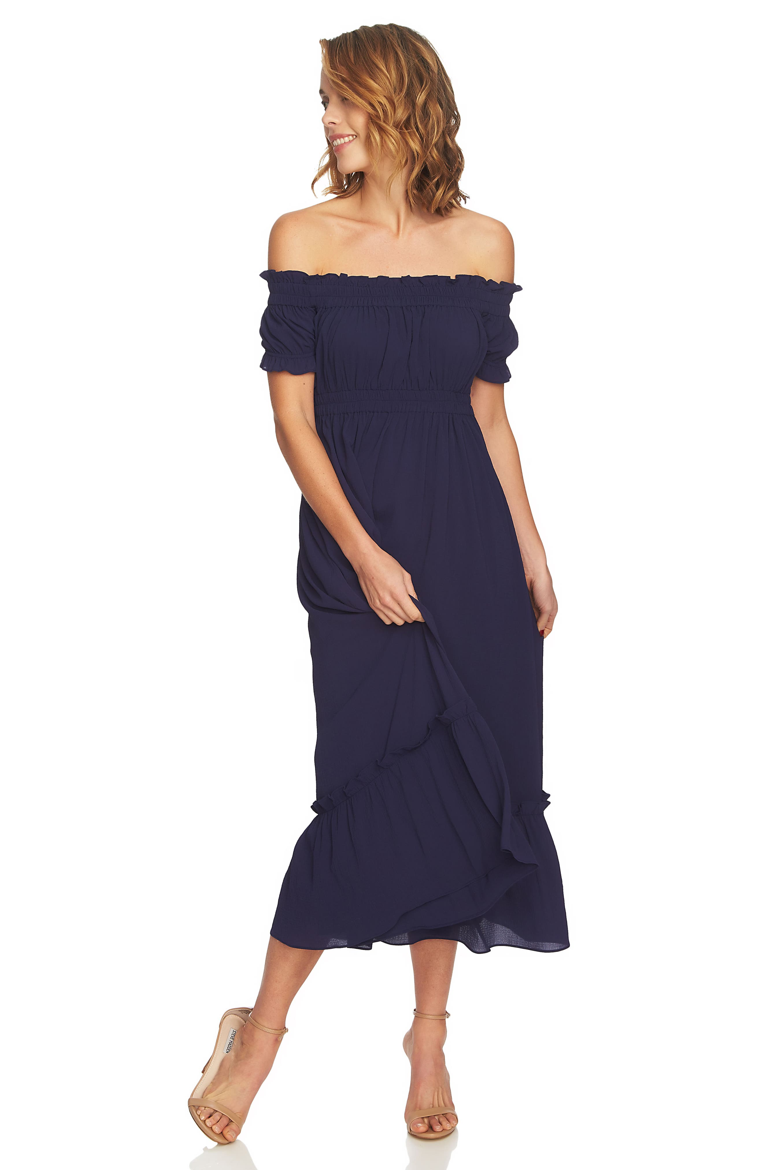 Vivian Off the Shoulder Smocked Maxi Dress,                             Alternate thumbnail 3, color,                             452