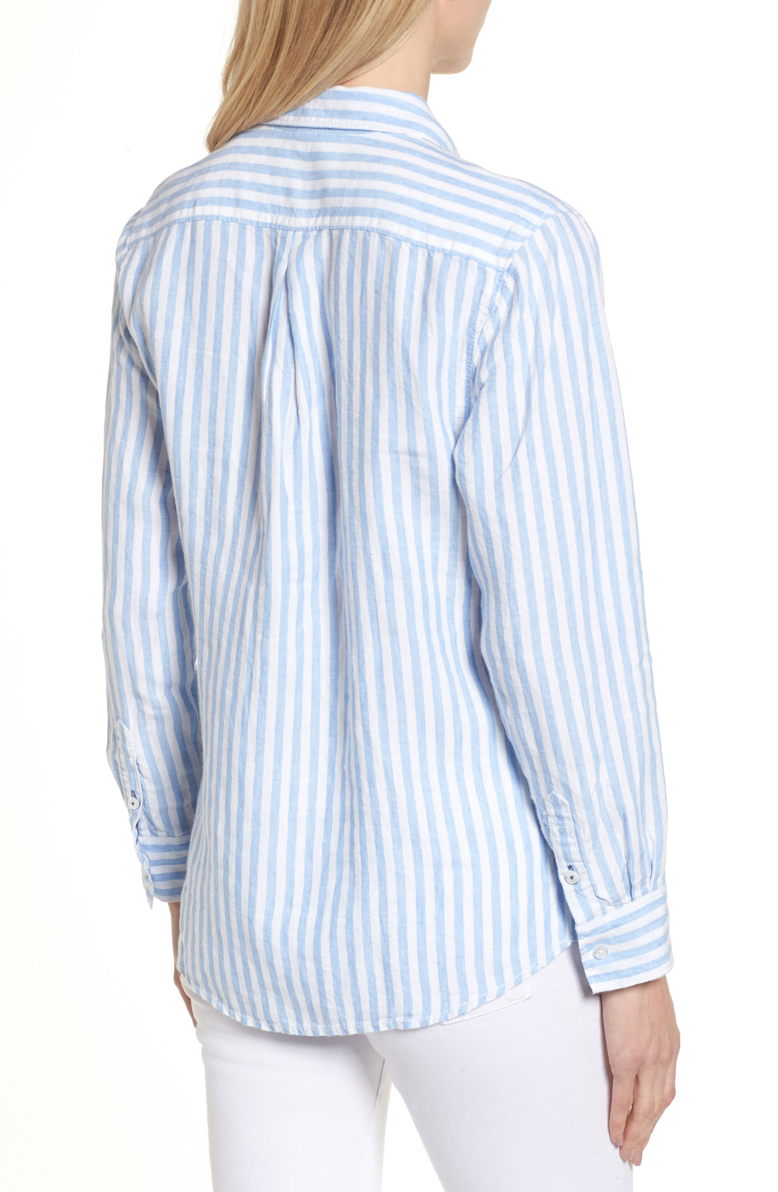 Cabana Stripe Button-Up Top,                             Alternate thumbnail 2, color,                             DUSTY LUPINE