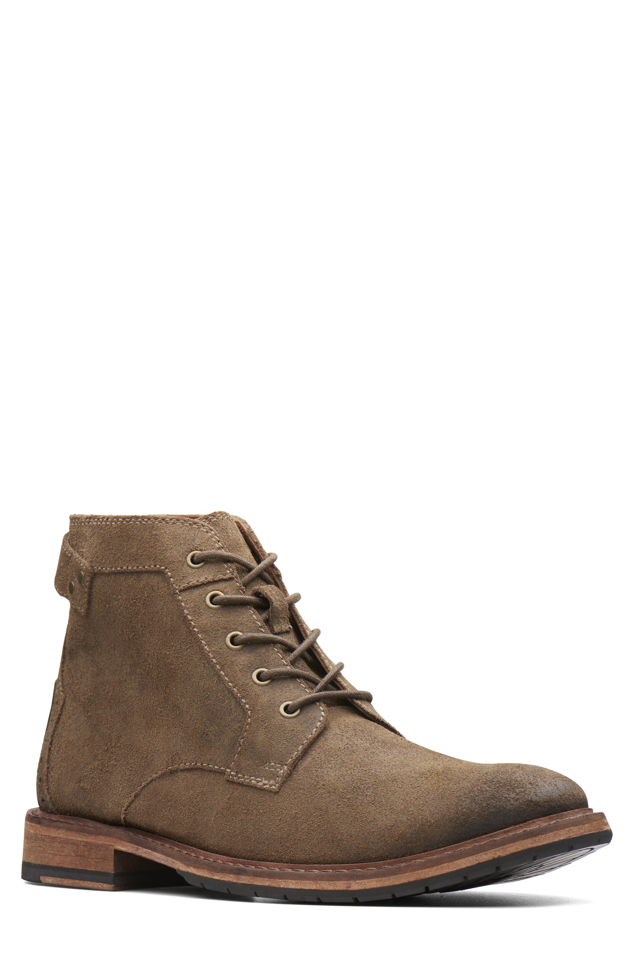 Clarkdale Bud Plain Toe Boot,                         Main,                         color, KHAKI SUEDE