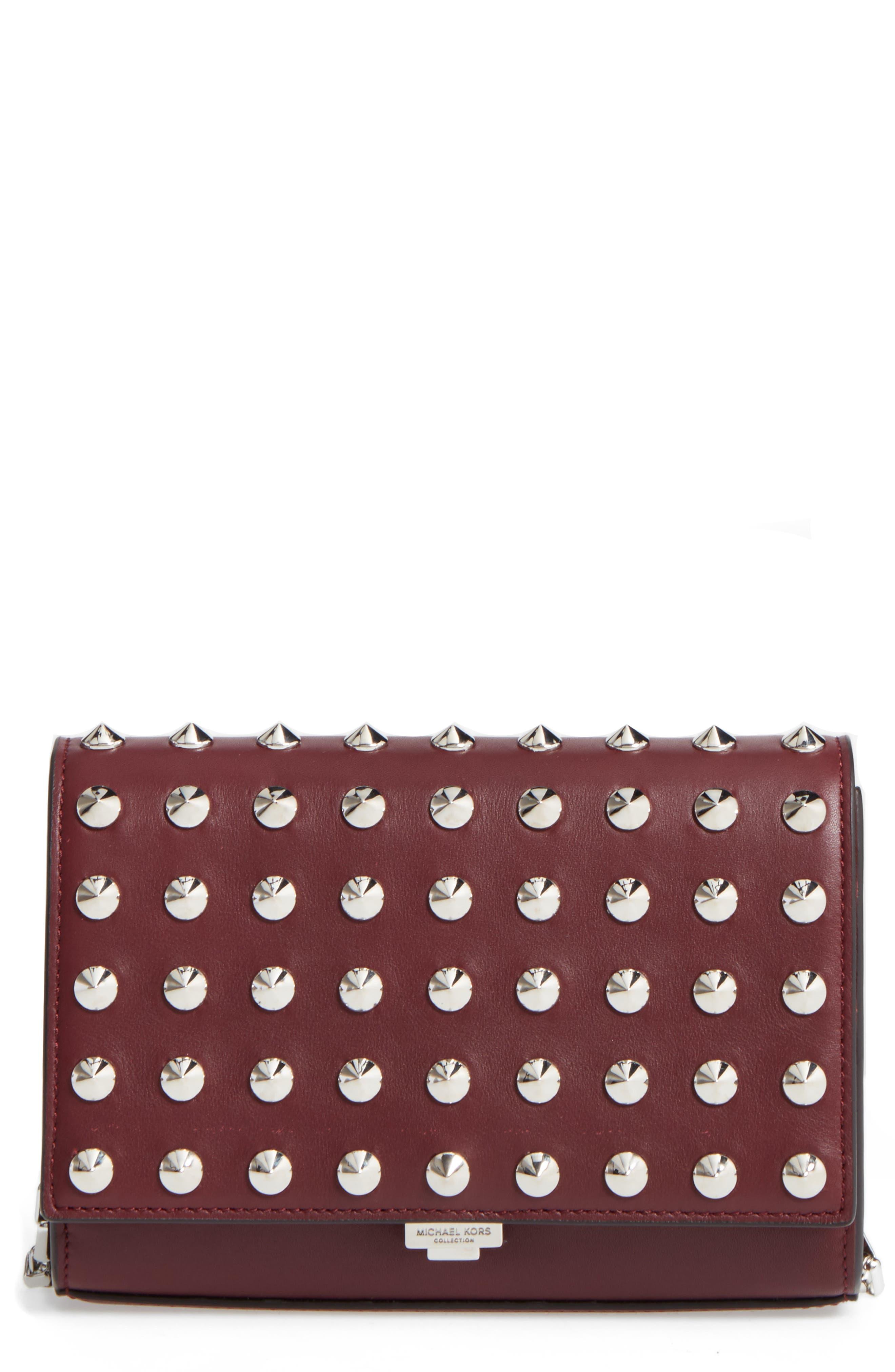 Yasmin Studded Leather Clutch,                             Main thumbnail 1, color,                             623