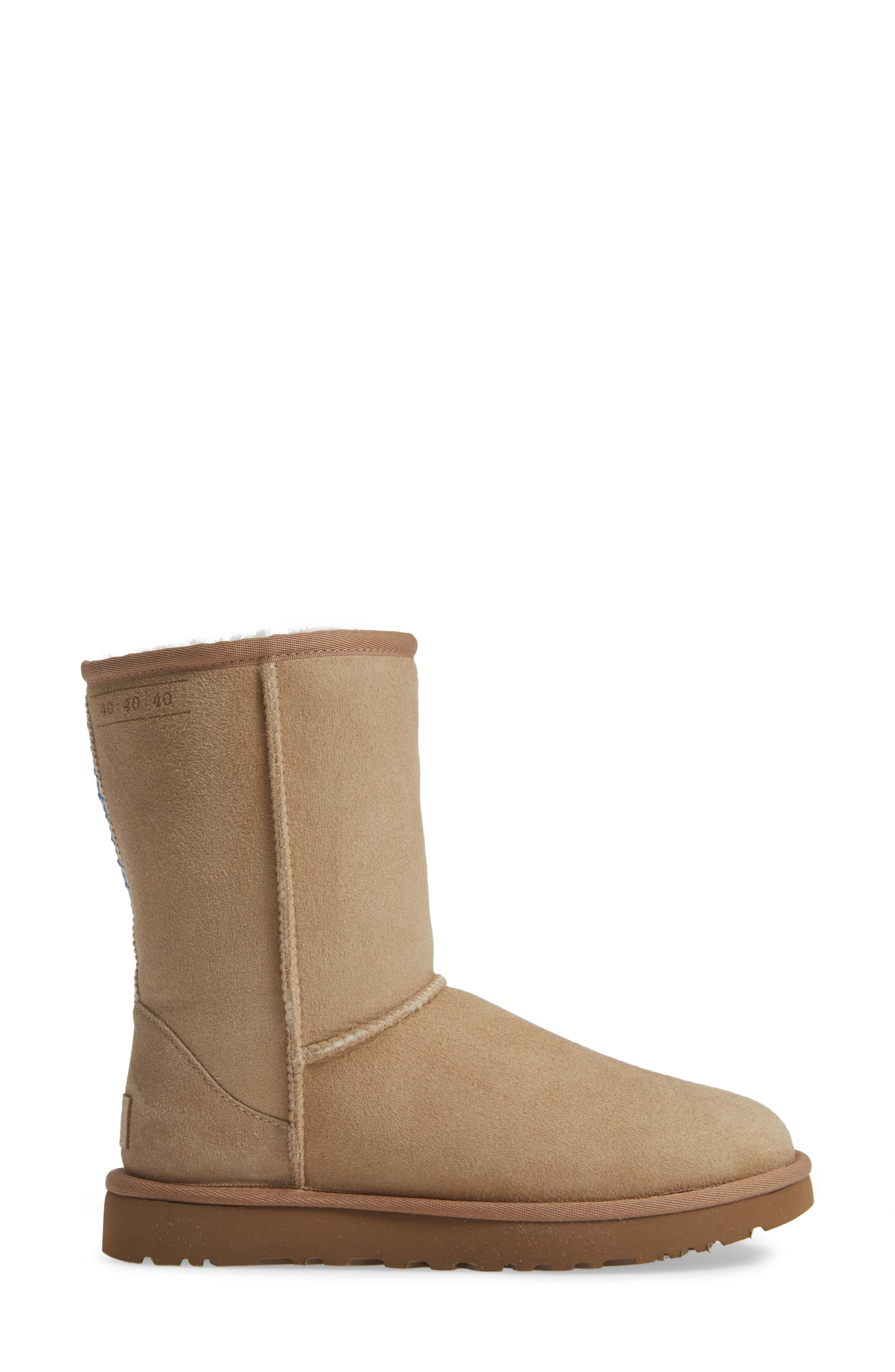 Classic Short 40:40:40 Genuine Shearling Boot,                             Alternate thumbnail 3, color,                             SAND SUEDE