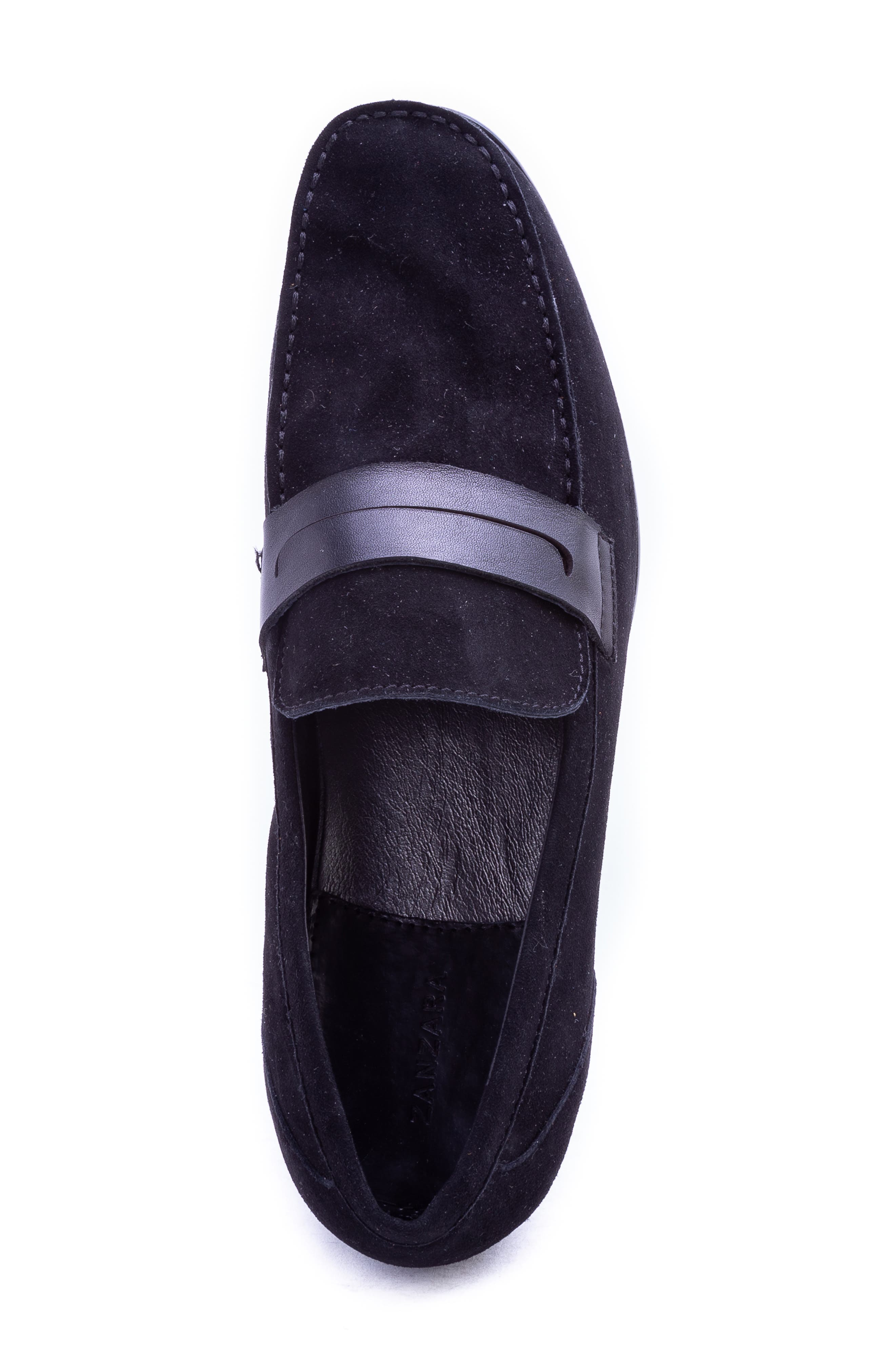 Opie Penny Loafer,                             Alternate thumbnail 5, color,                             BLACK SUEDE/ LEATHER