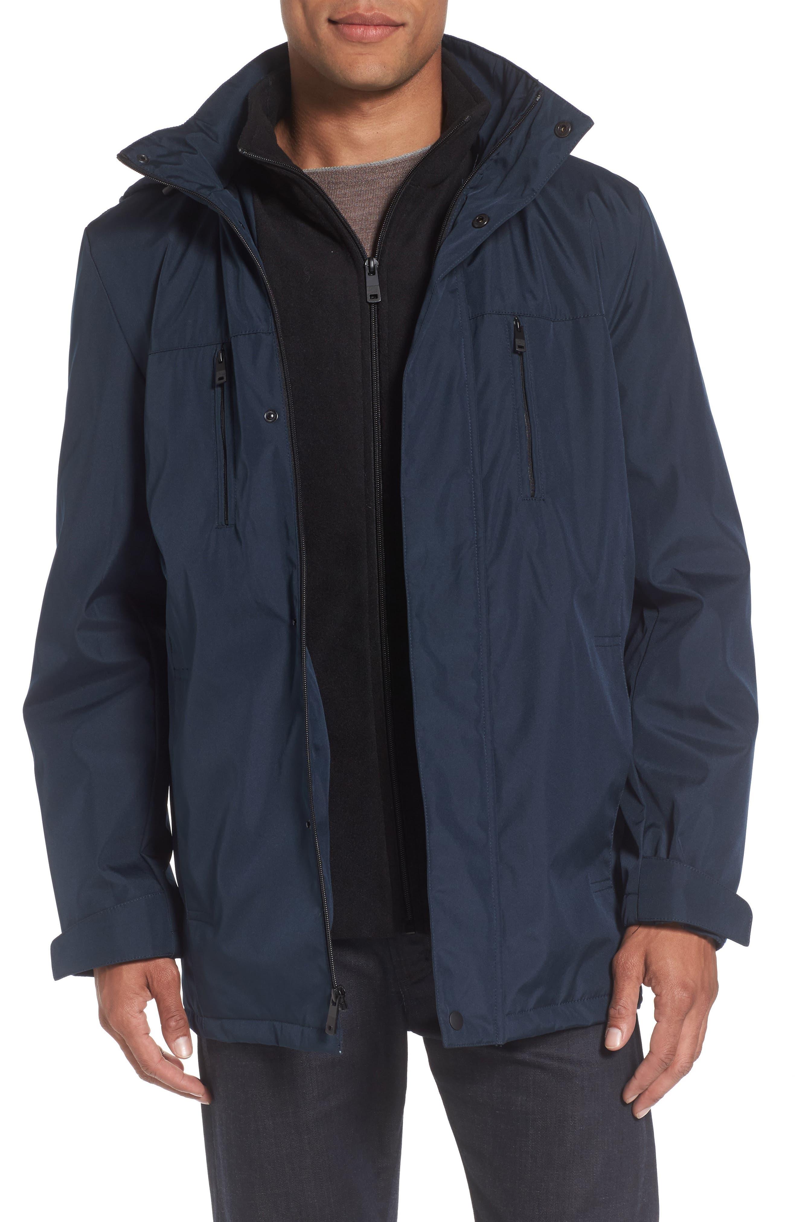 Hooded Jacket with Inset Fleece Bib,                             Main thumbnail 4, color,