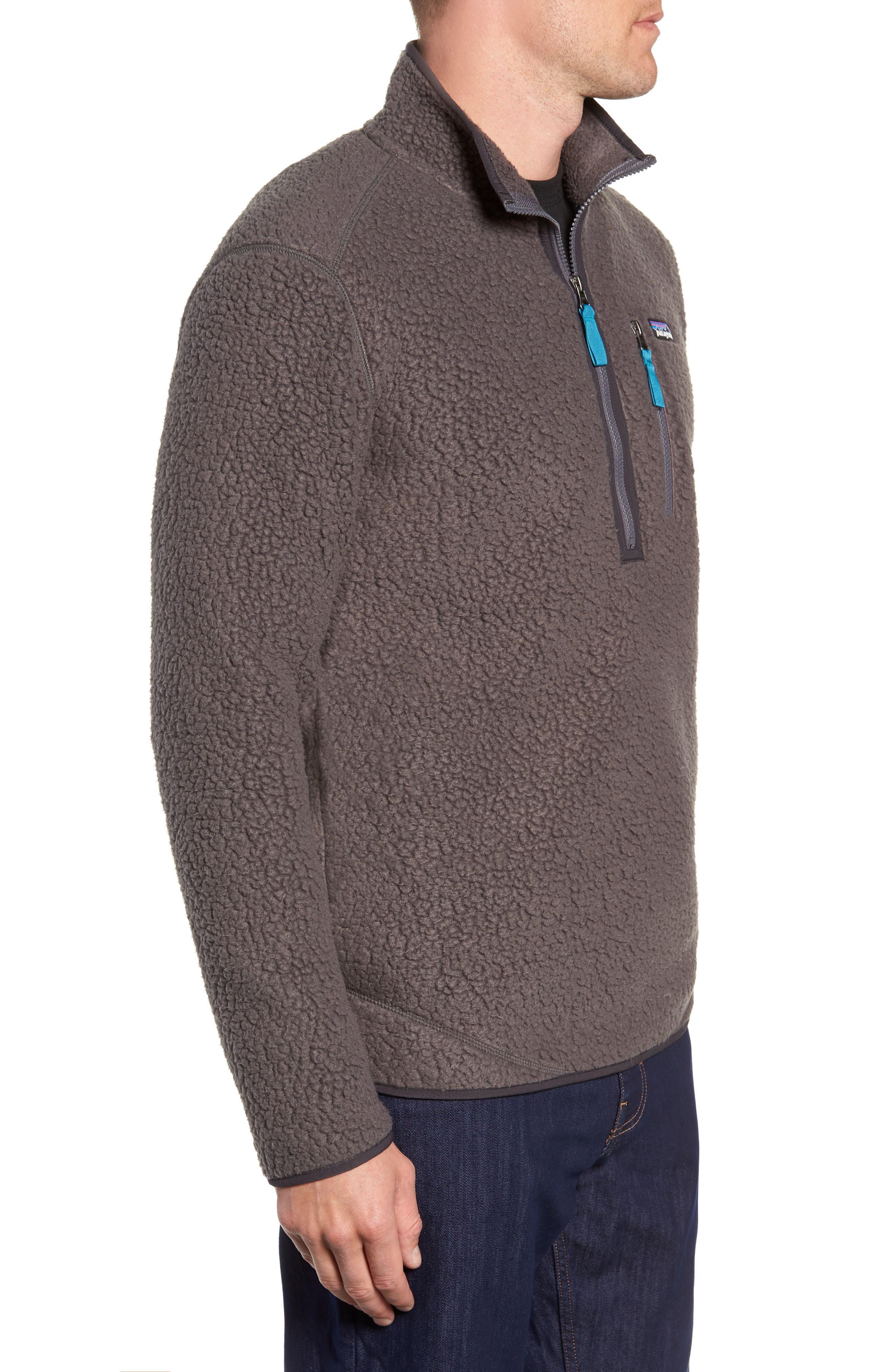 Retro Pile Fleece Zip Jacket,                             Alternate thumbnail 3, color,                             FORGE GREY