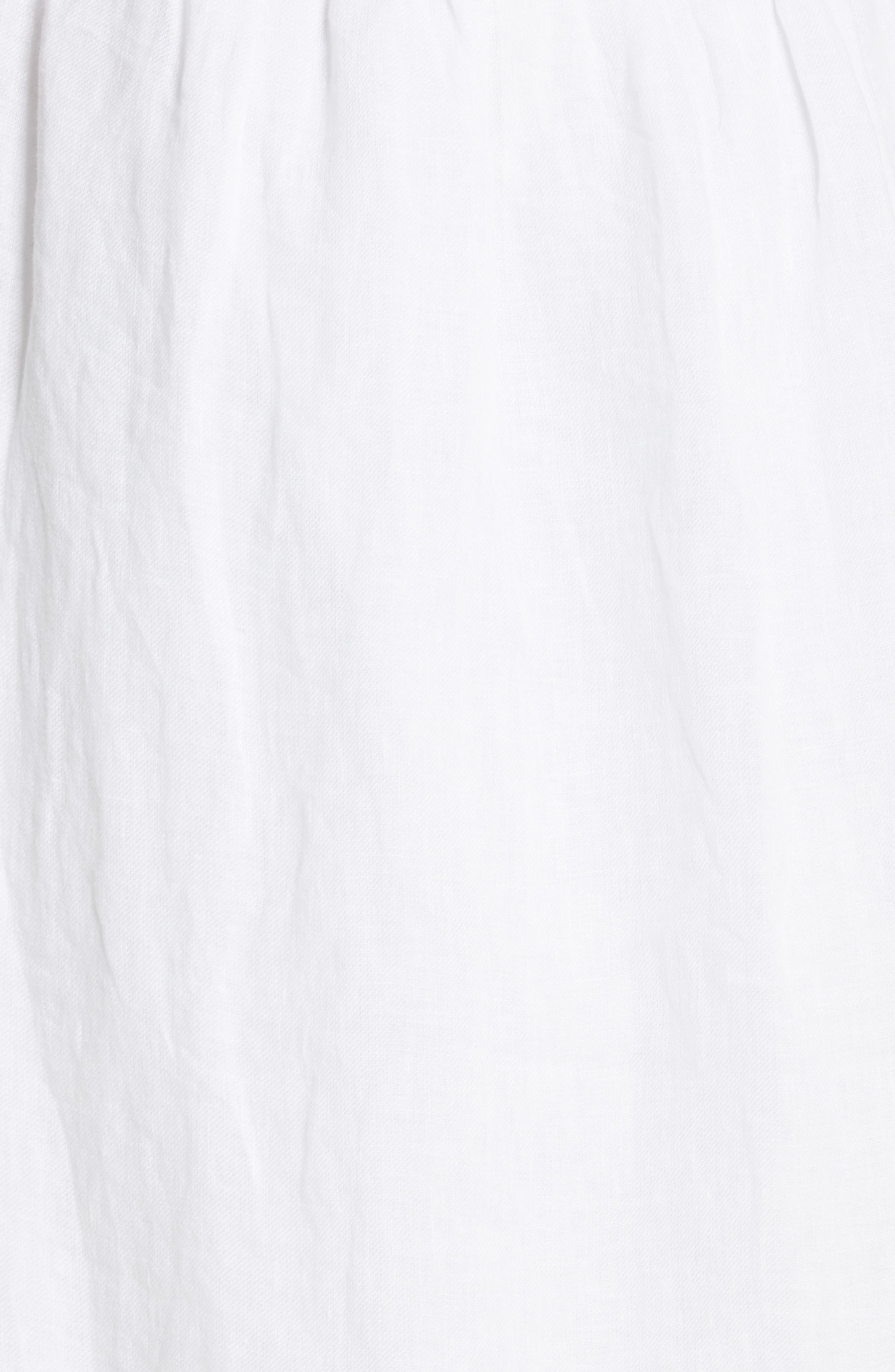 Filma Back Cutout Linen Wrap Dress,                             Alternate thumbnail 5, color,                             PORCELAIN