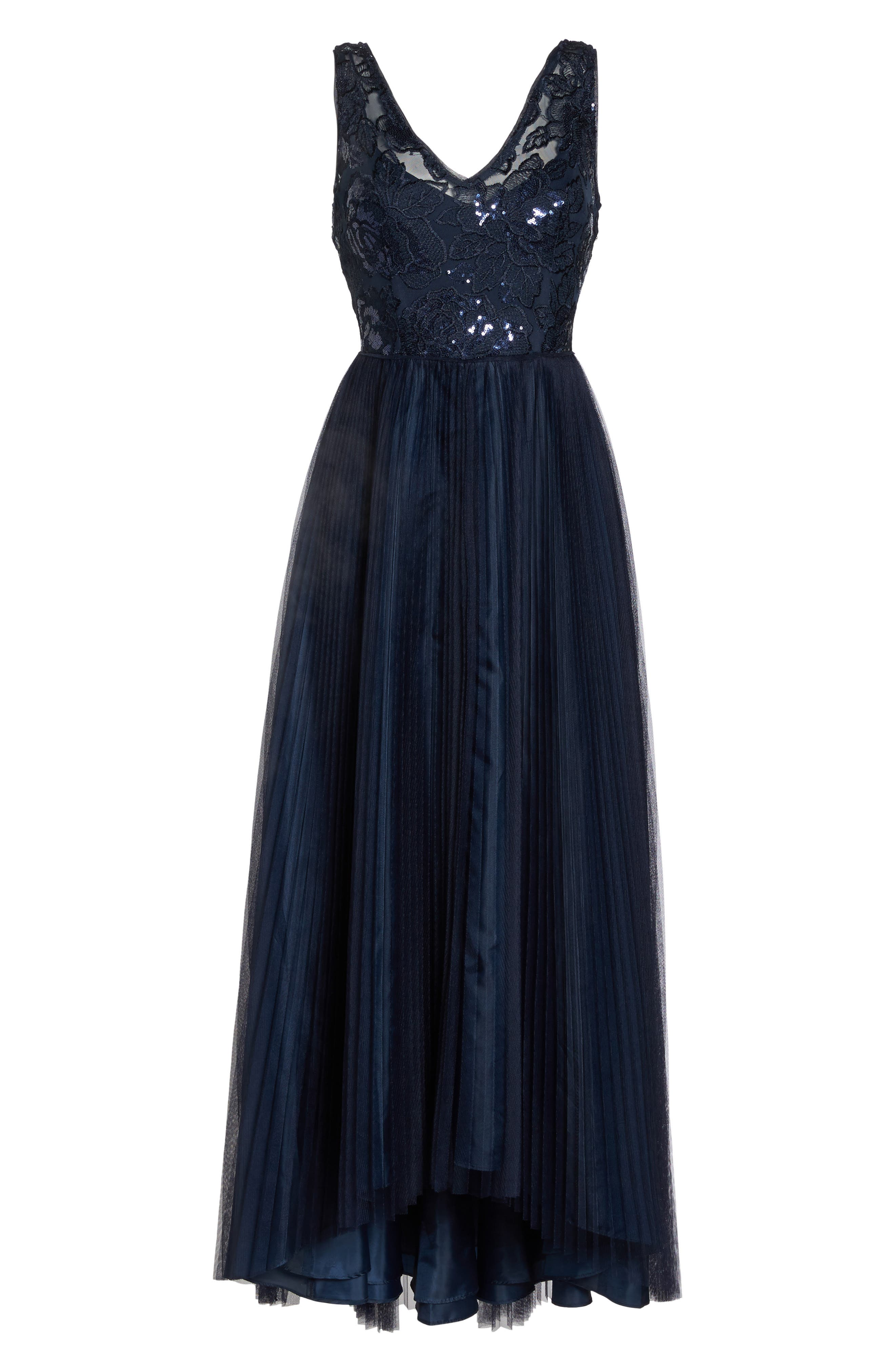 Sequin Pleated Tulle High/Low Gown,                             Alternate thumbnail 6, color,                             411