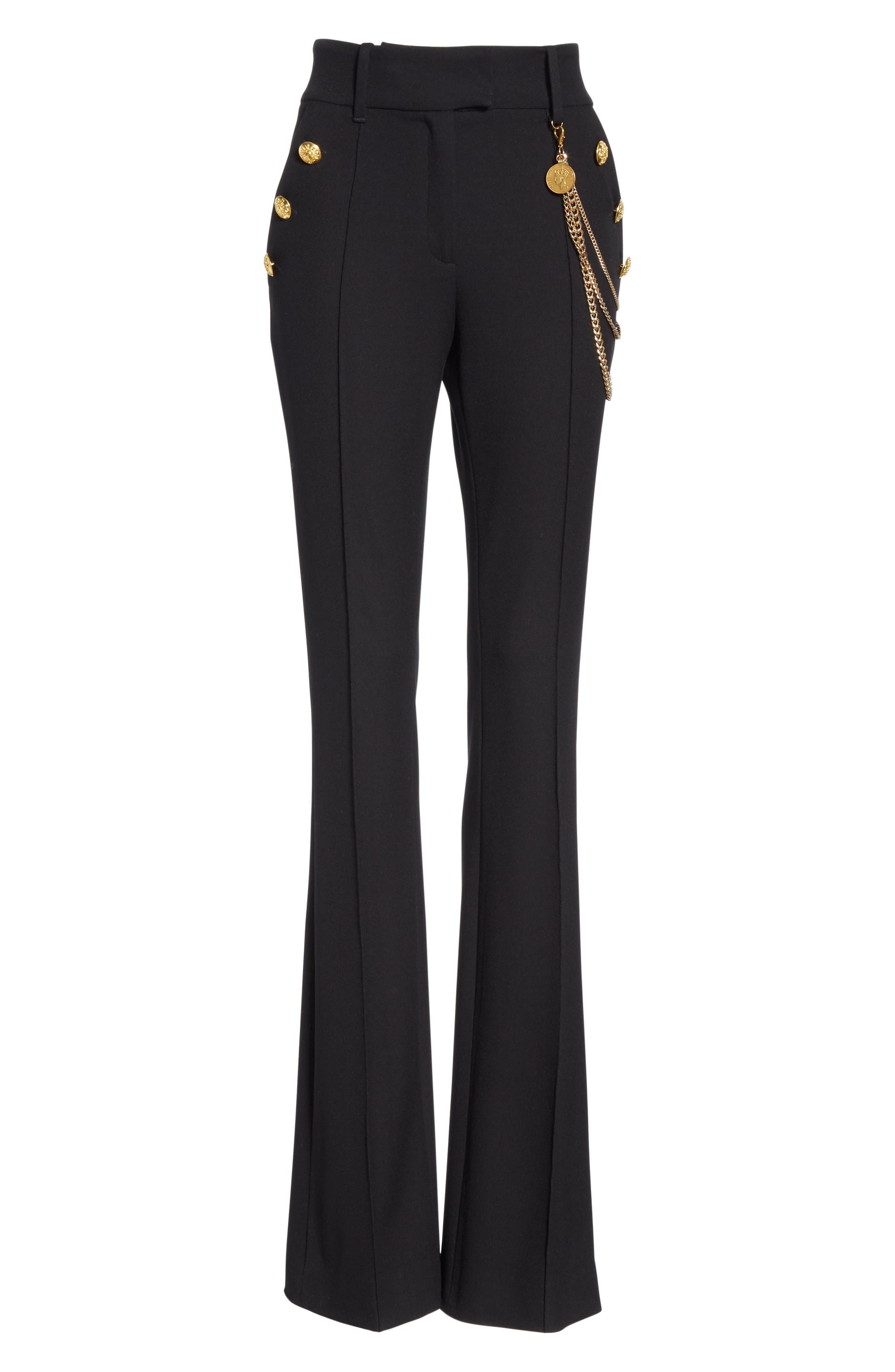 Alair Chain Detail Sailor Trousers,                             Alternate thumbnail 6, color,                             BLACK