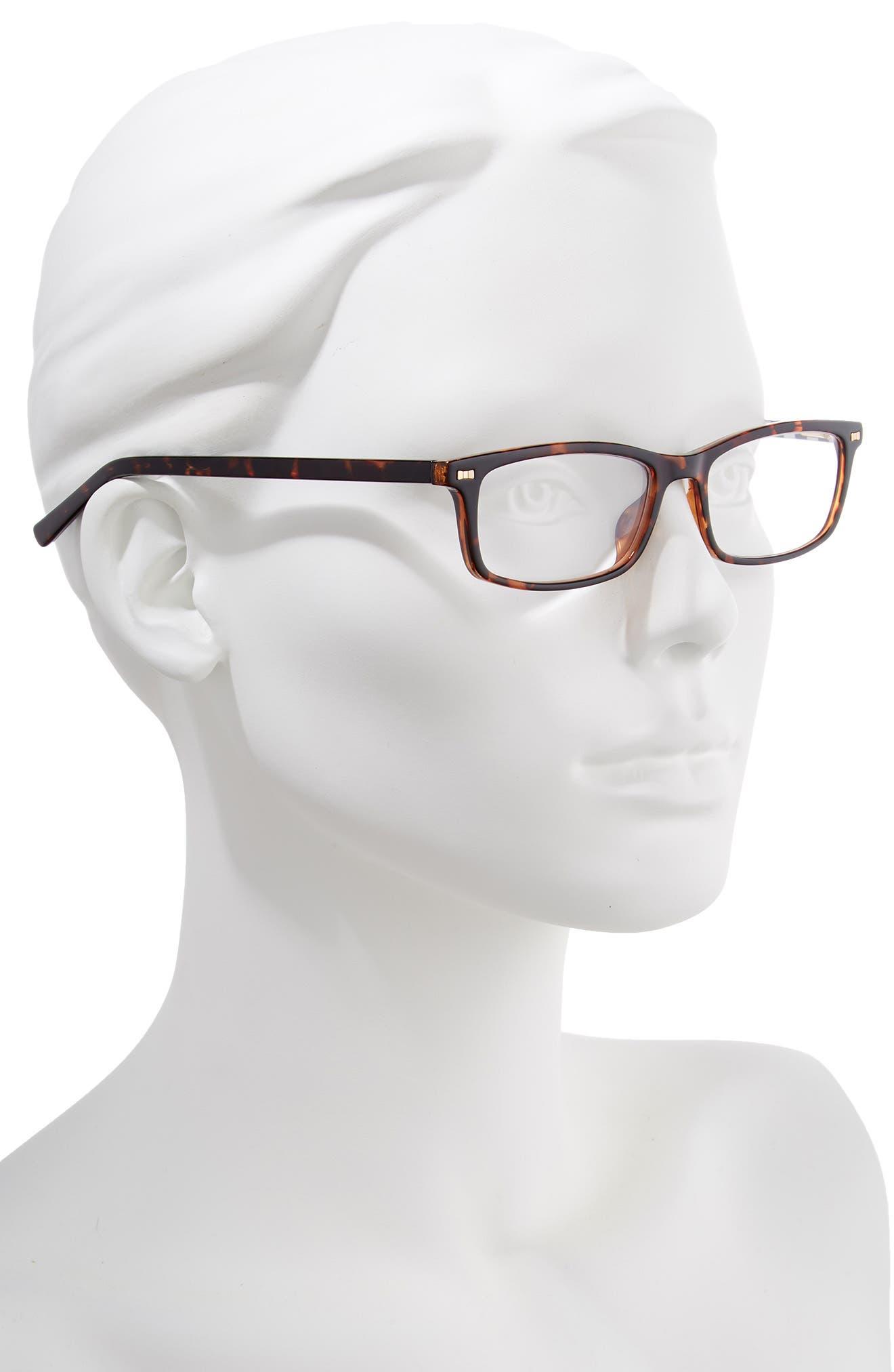 jodie 50mm rectangular reading glasses,                             Alternate thumbnail 2, color,                             HAVANA PATTERN