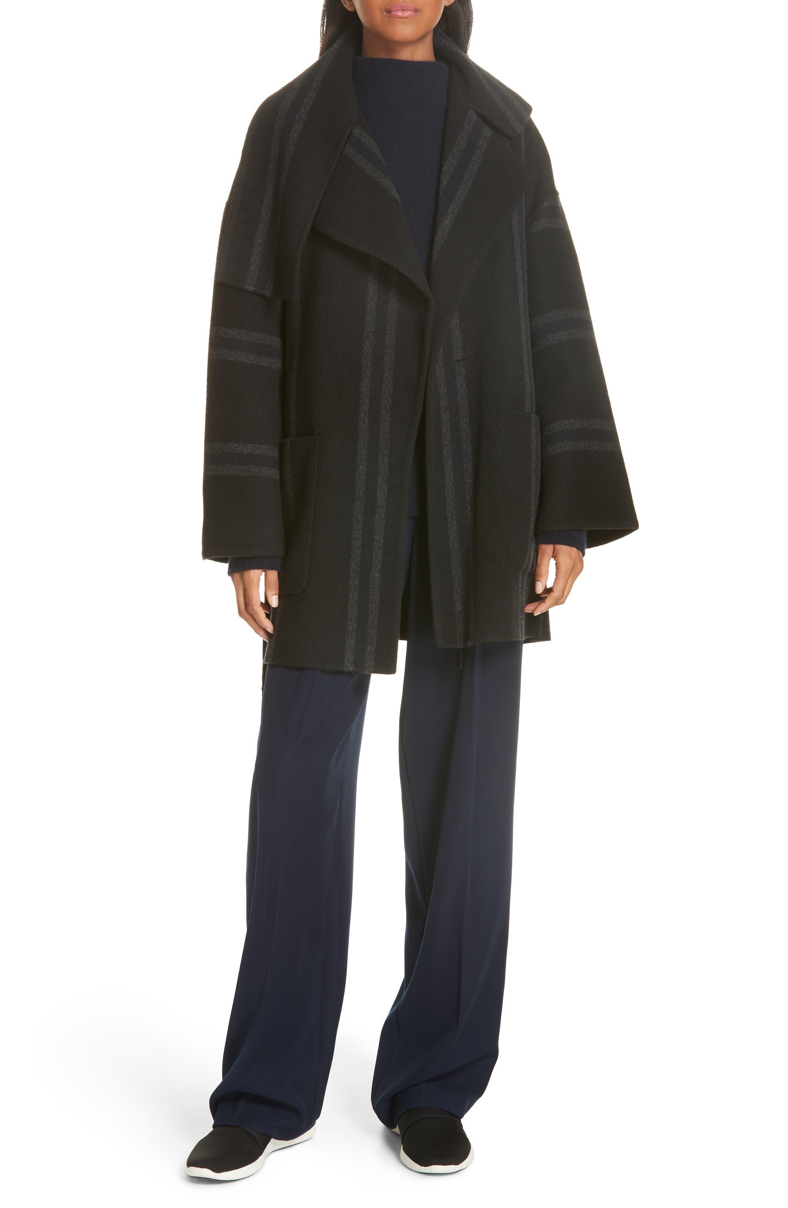 Stripe Blanket Coat,                             Alternate thumbnail 8, color,                             ONYX