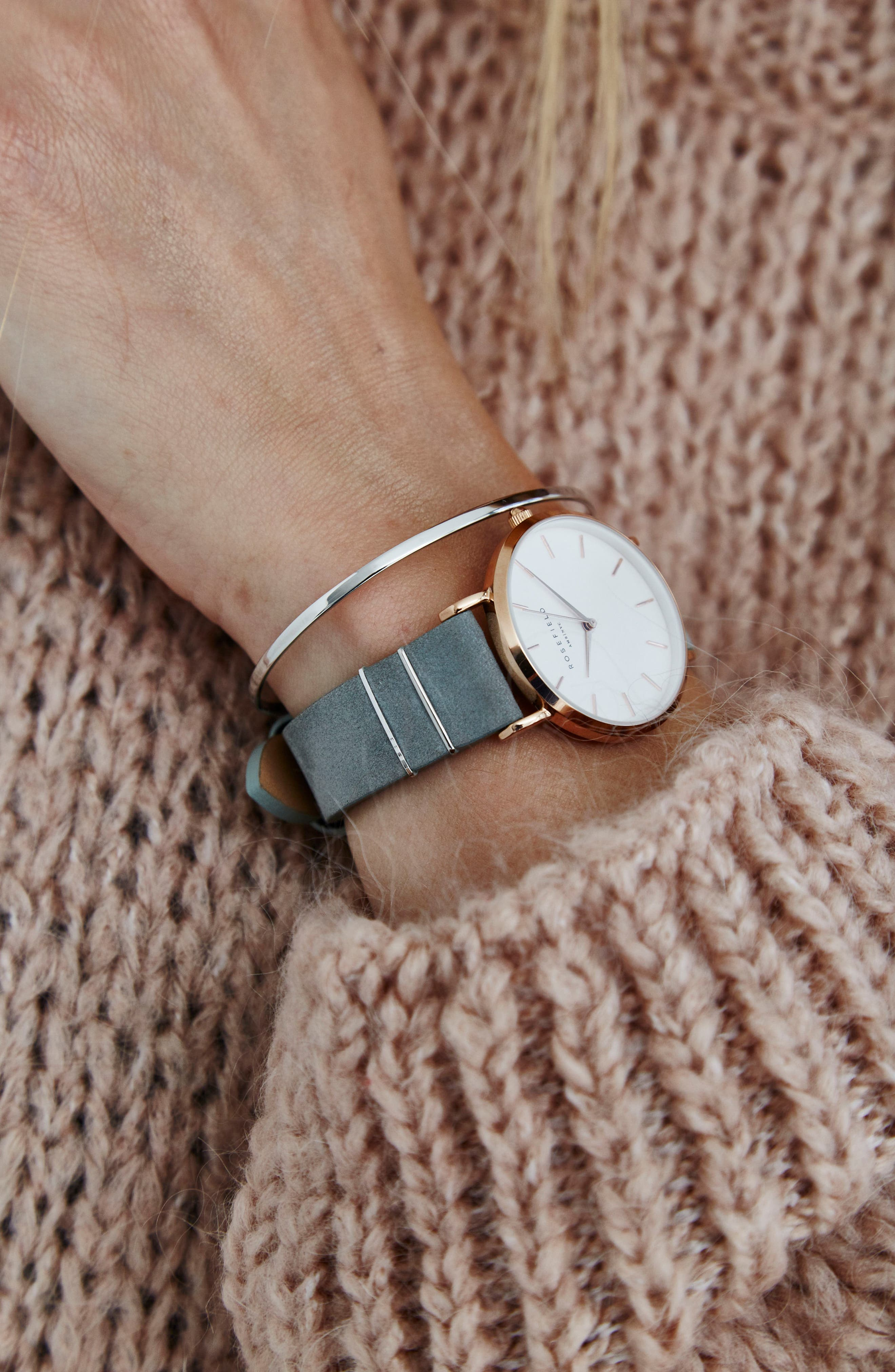 Holiday Leather Strap Watch & Bracelet Gift Set, 33mm,                             Alternate thumbnail 6, color,                             GREY/ ROSE GOLD/ SILVER