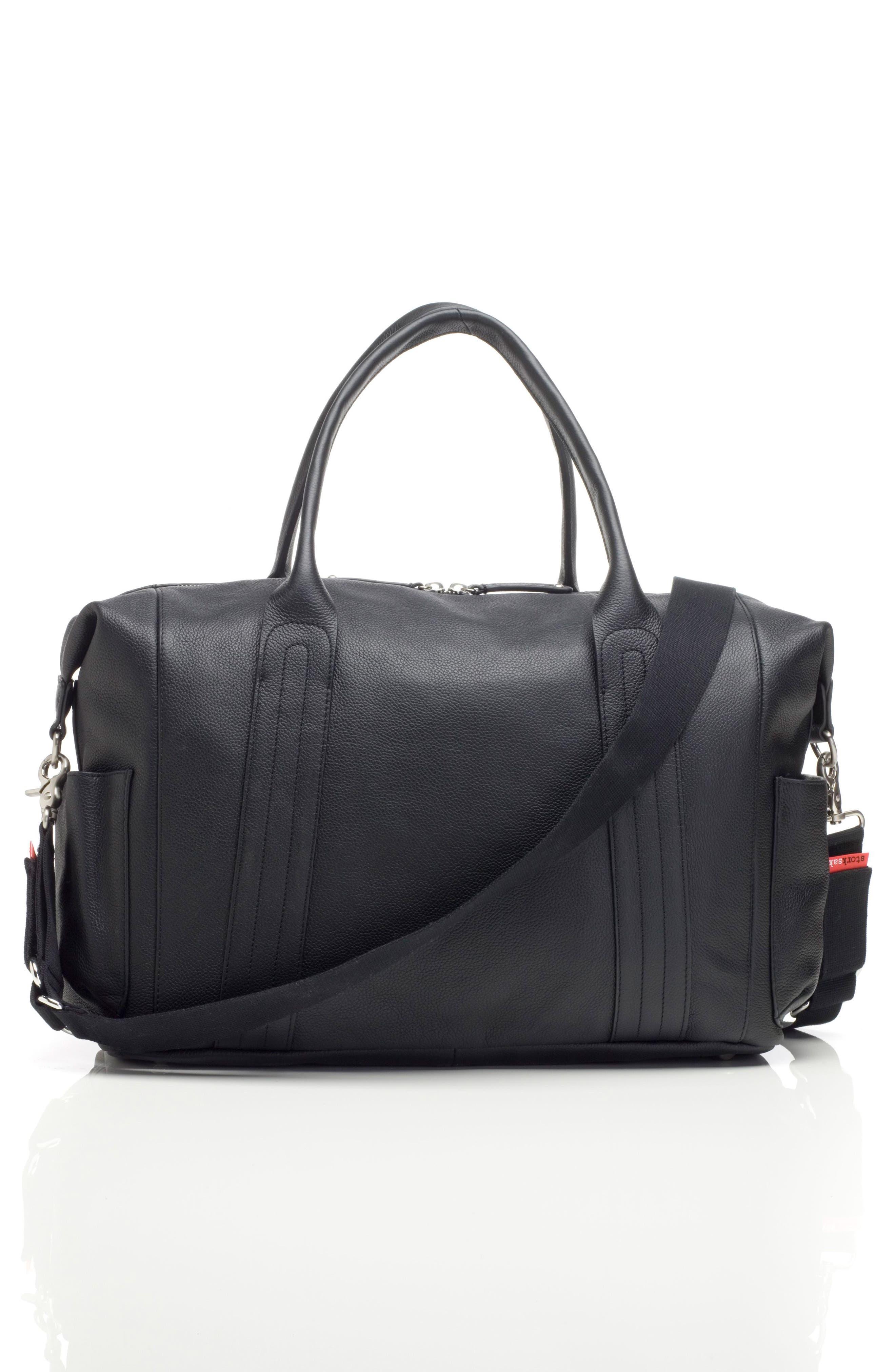 Storsak Leather Diaper Bag,                             Alternate thumbnail 3, color,                             BLACK