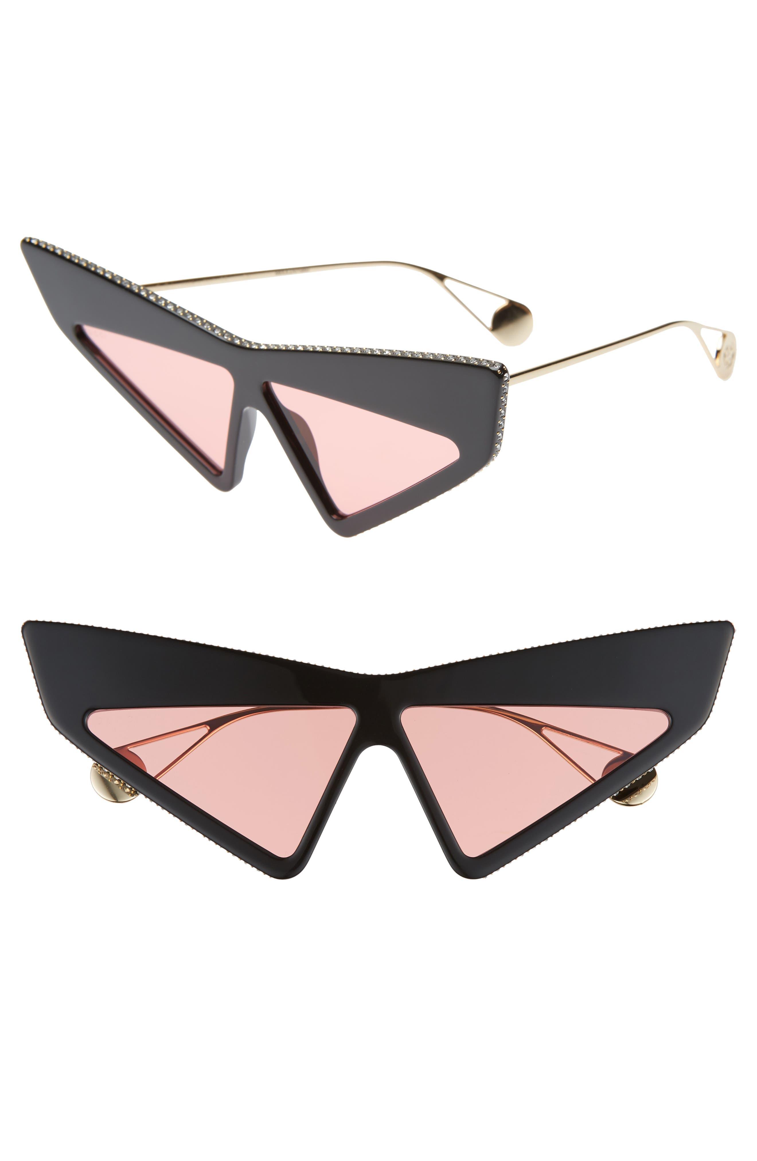 70Mm Cat Eye Sunglasses - Black/Swarovski W/Solid Cherry