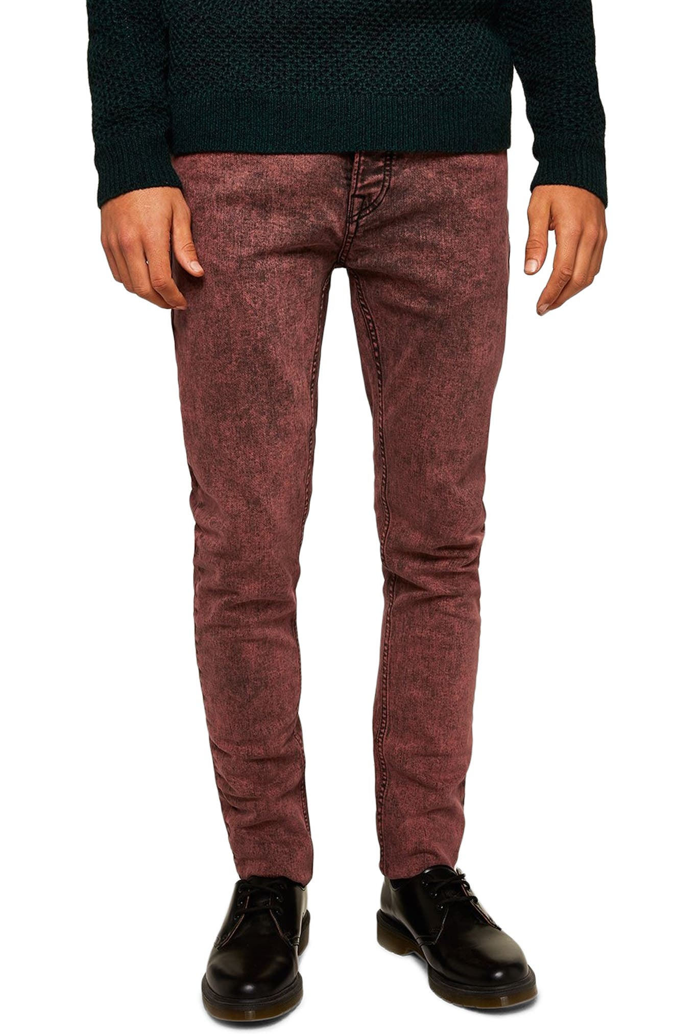 Acid Wash Stretch Skinny Jeans,                             Main thumbnail 1, color,                             RED