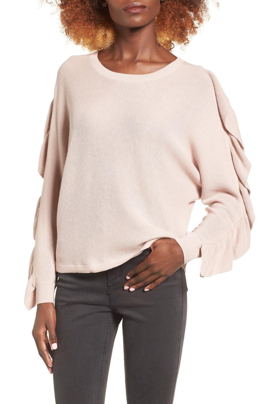 Ruffle Sleeve Sweater,                             Main thumbnail 2, color,