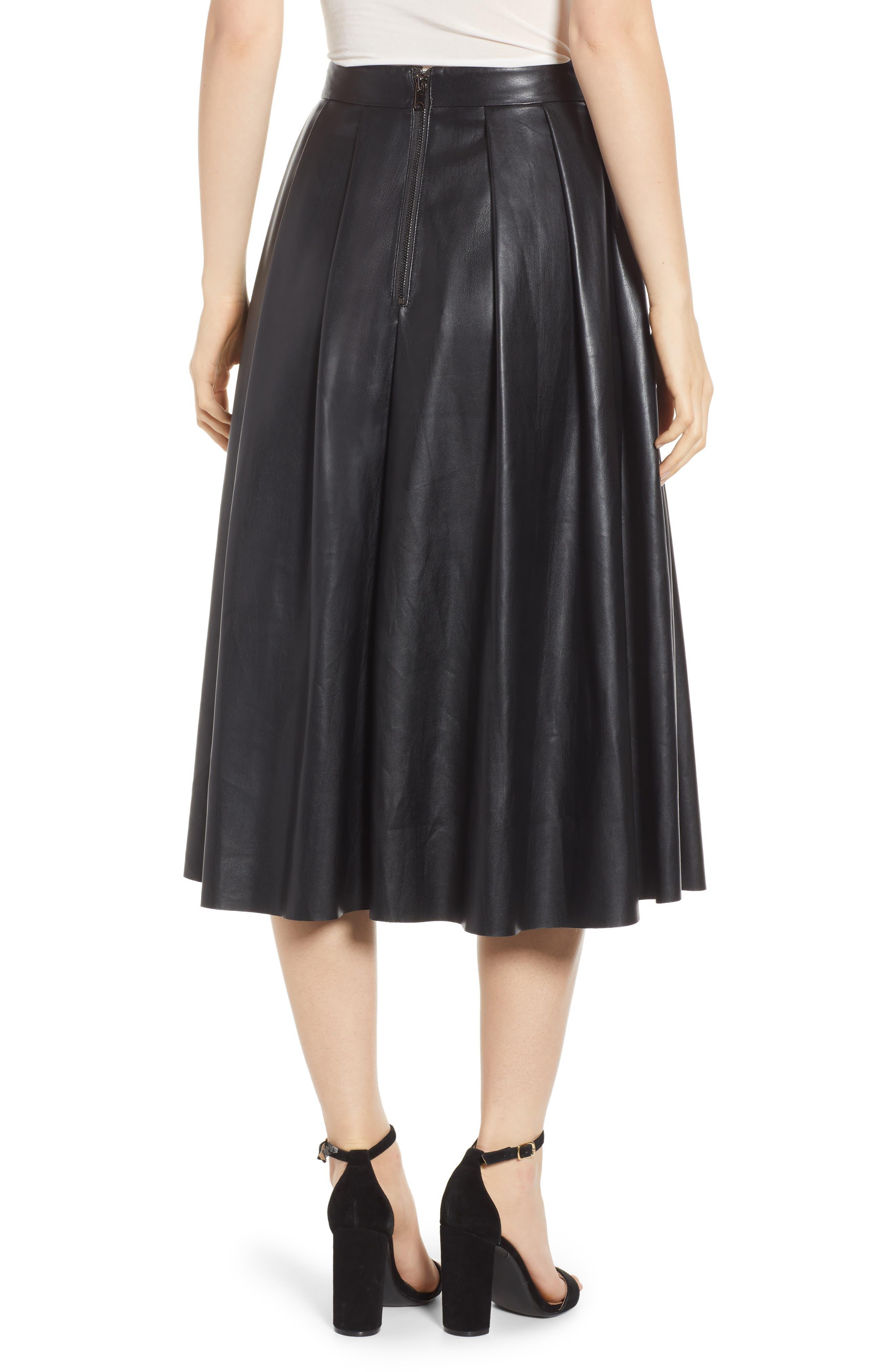 Hudson Faux Leather Midi Skirt,                             Alternate thumbnail 2, color,                             BLACK