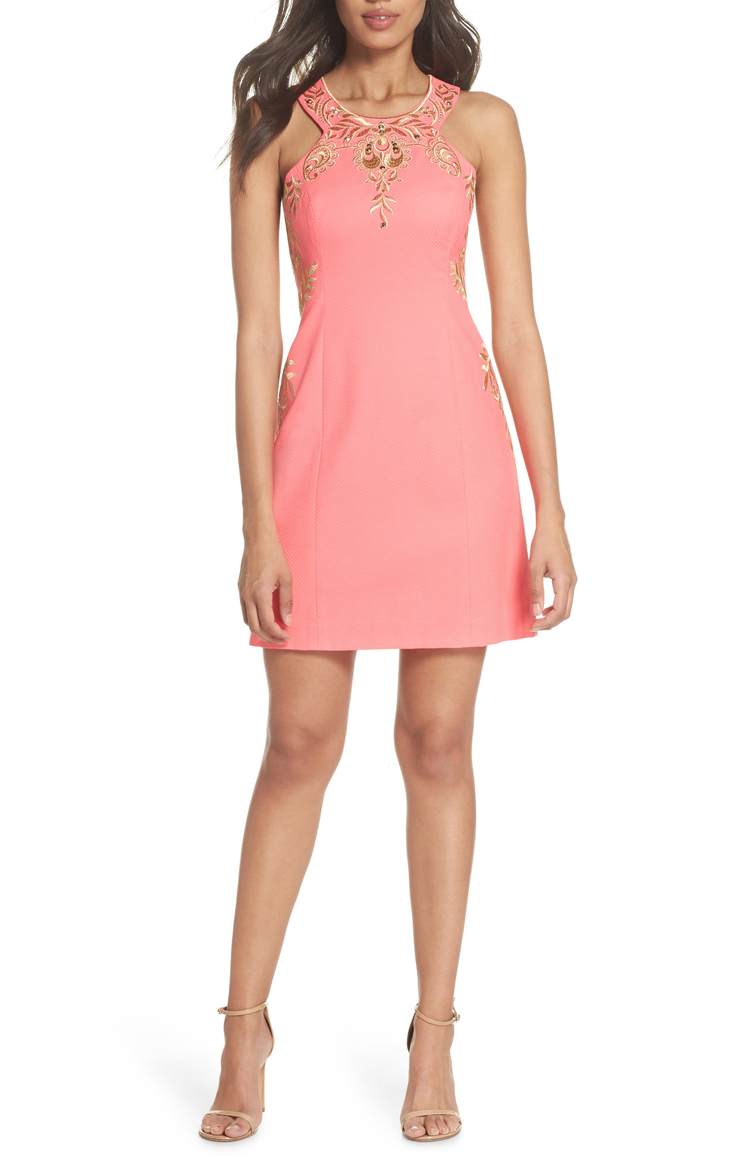 Tina Embroidered Sheath Dress,                             Alternate thumbnail 5, color,                             CORAL SUNS