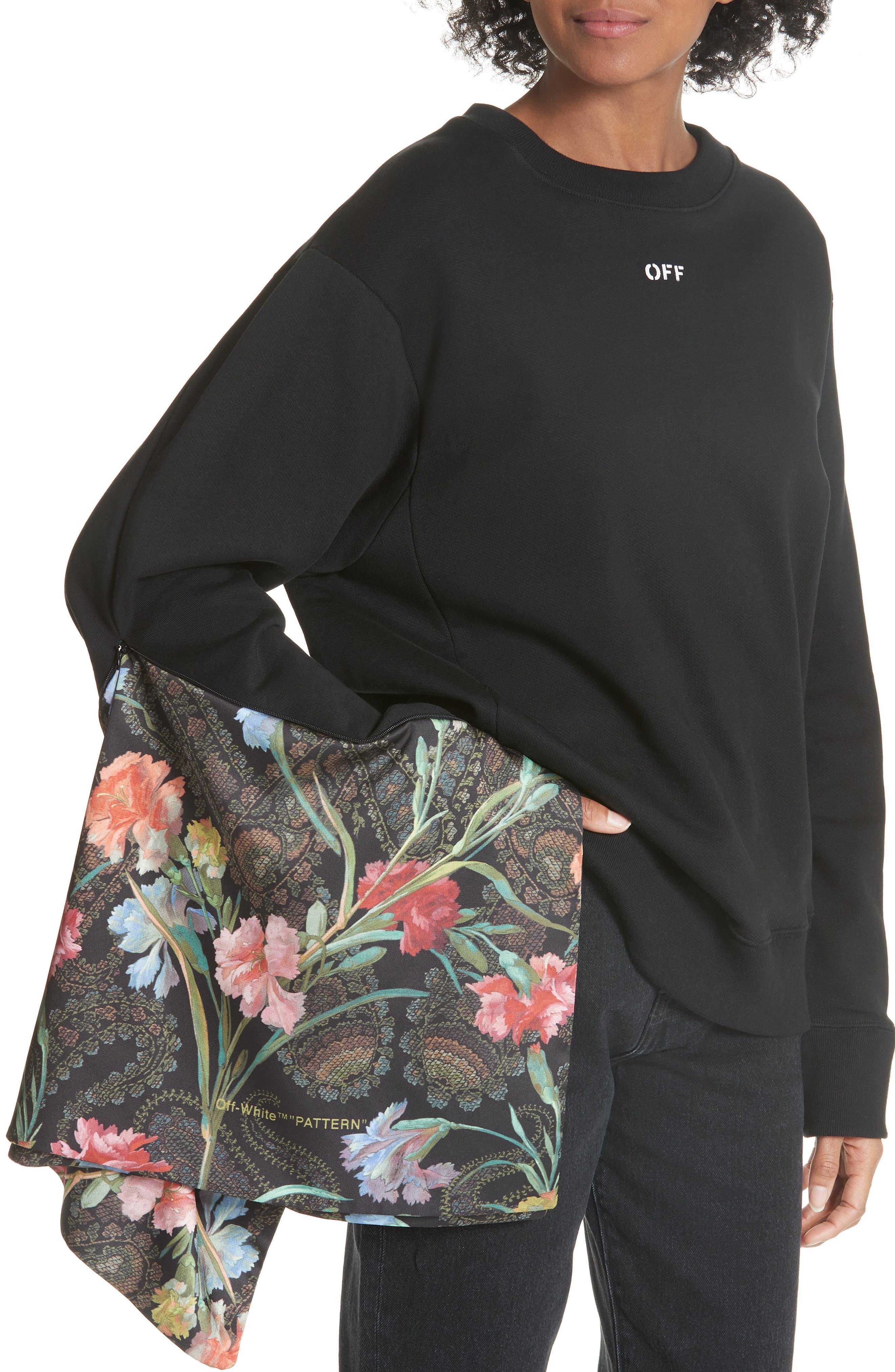 Foulard Sleeve Crewneck Sweatshirt,                             Alternate thumbnail 5, color,                             001