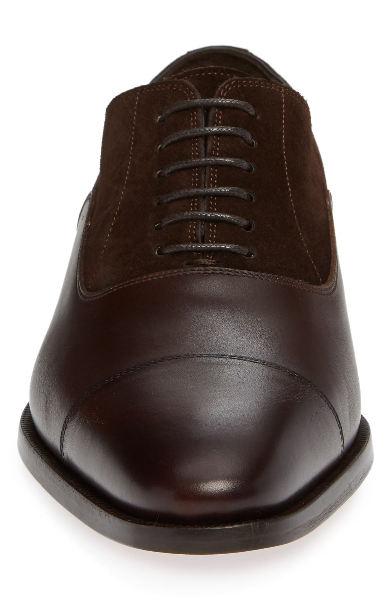 Amadora Cap Toe Oxford,                             Alternate thumbnail 4, color,                             BERRY/ BROWN LEATHER