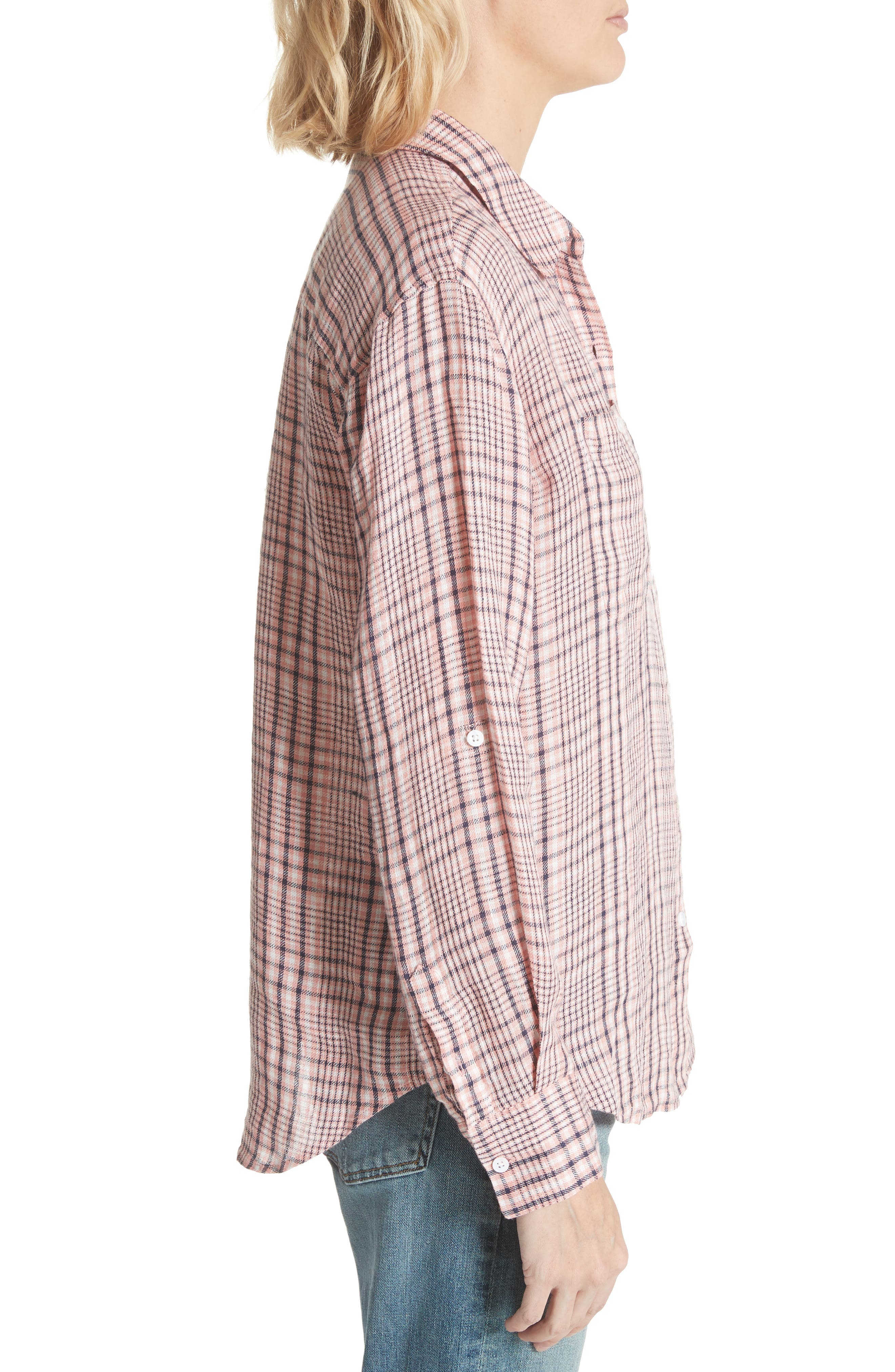 Lidelle Plaid Linen Shirt,                             Alternate thumbnail 3, color,                             658