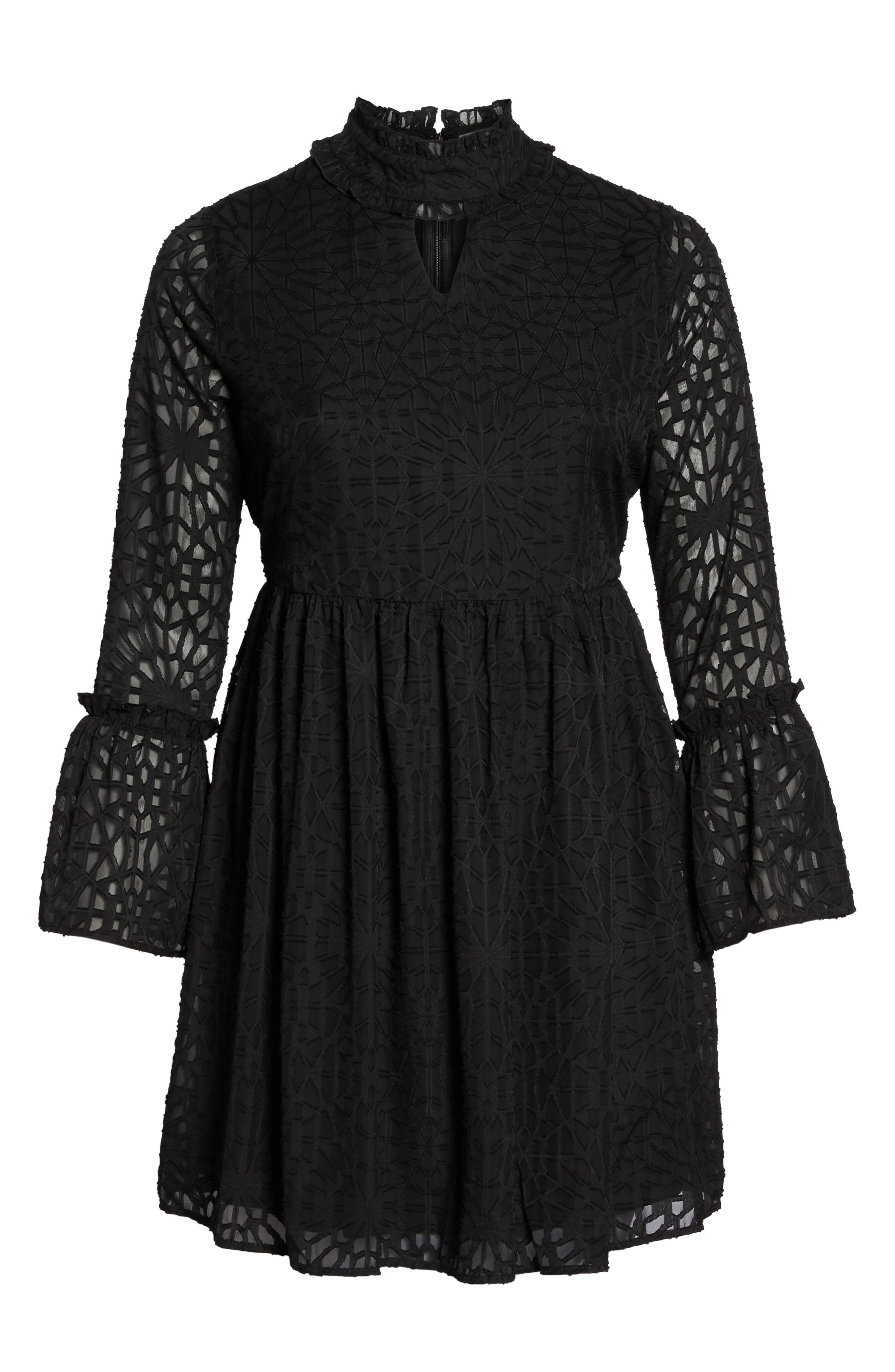 Geo Lace Fit & Flare Dress,                             Alternate thumbnail 6, color,                             001