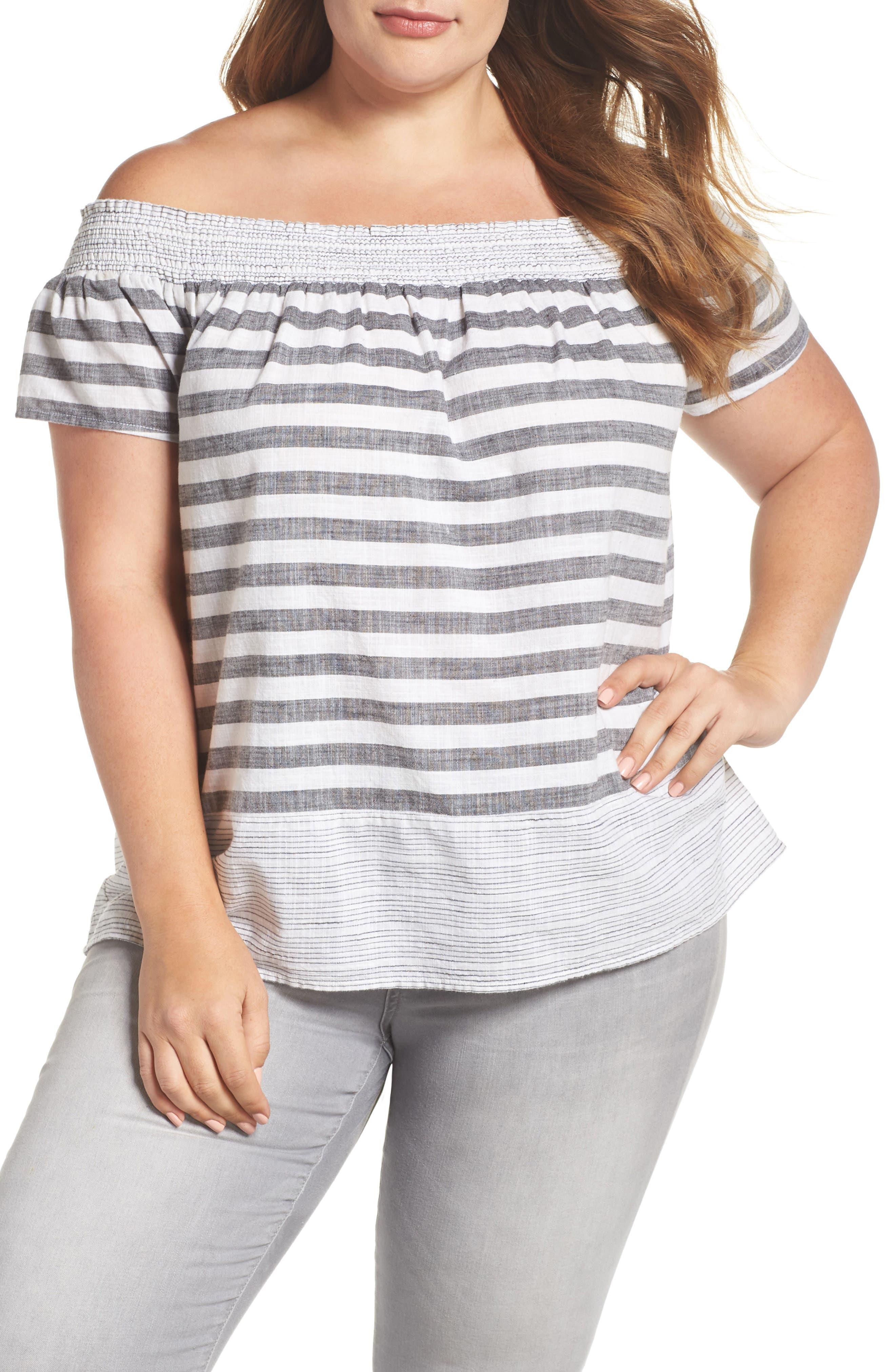 Stripe Off the Shoulder Top,                         Main,                         color, 060