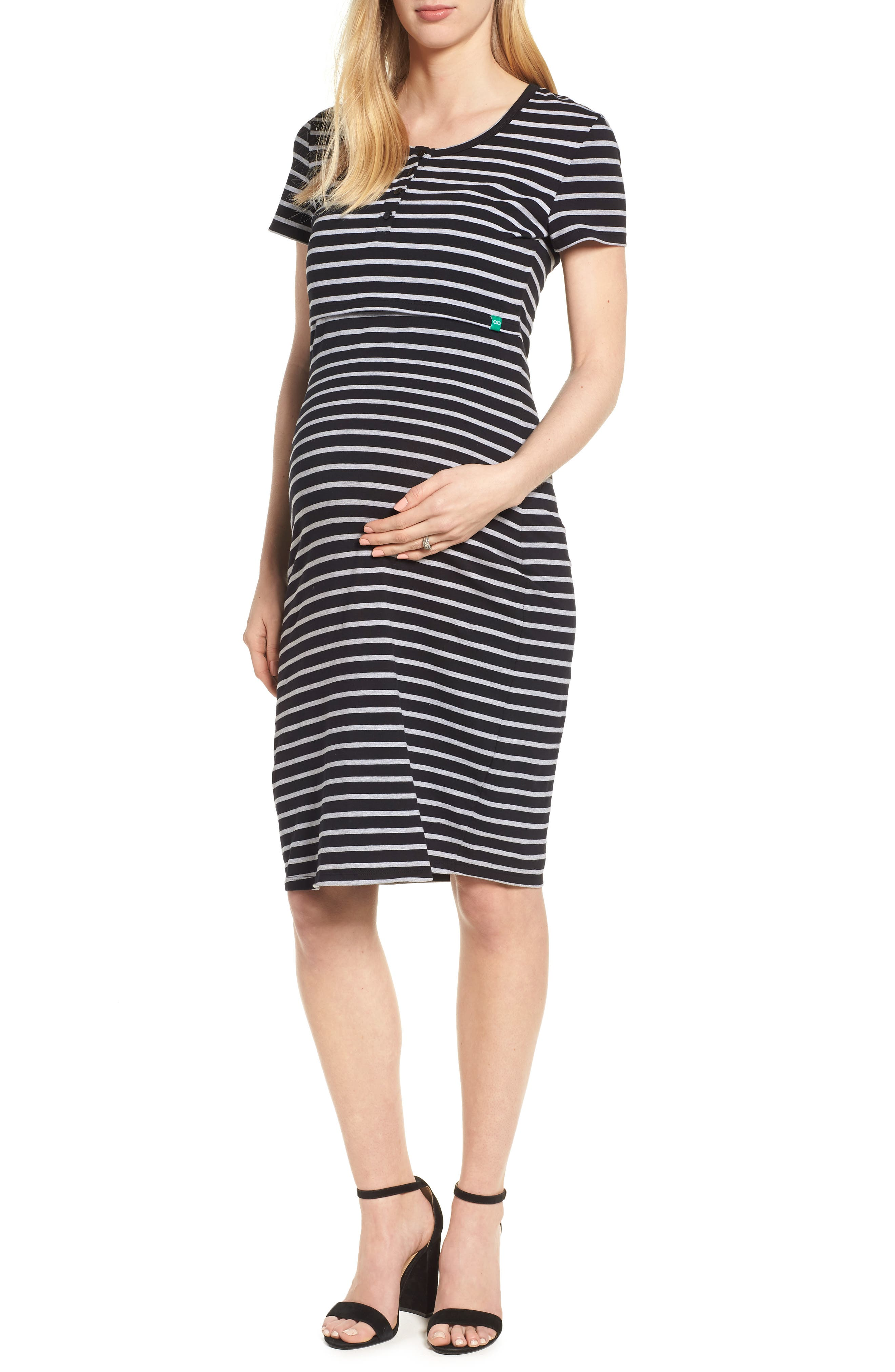 Maternity/Nursing Henley T-Shirt Dress,                         Main,                         color, BLACK/ GREY