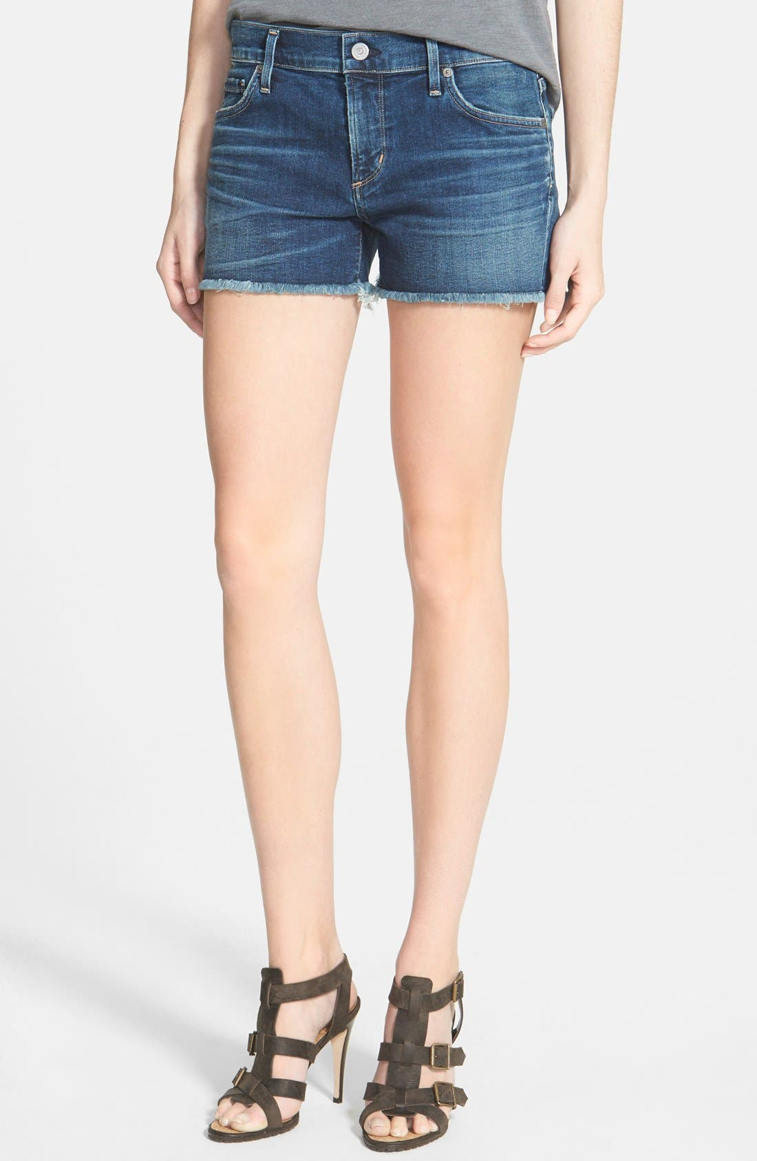 CITIZENS OF HUMANITY,                             'Ava' Frayed Denim Shorts,                             Main thumbnail 1, color,                             MODERN LOVE