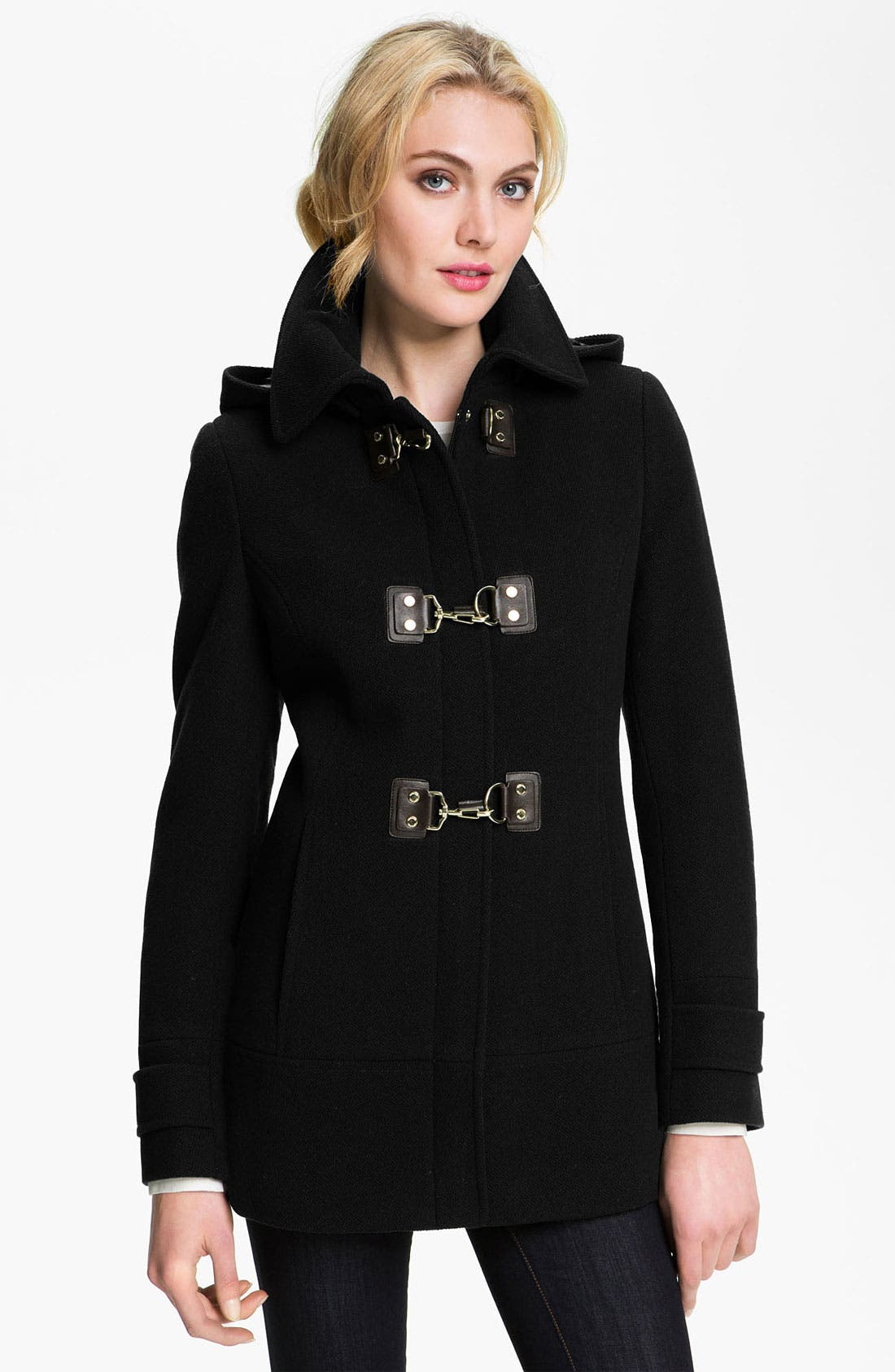 Hooded Toggle Coat, Main, color, 001