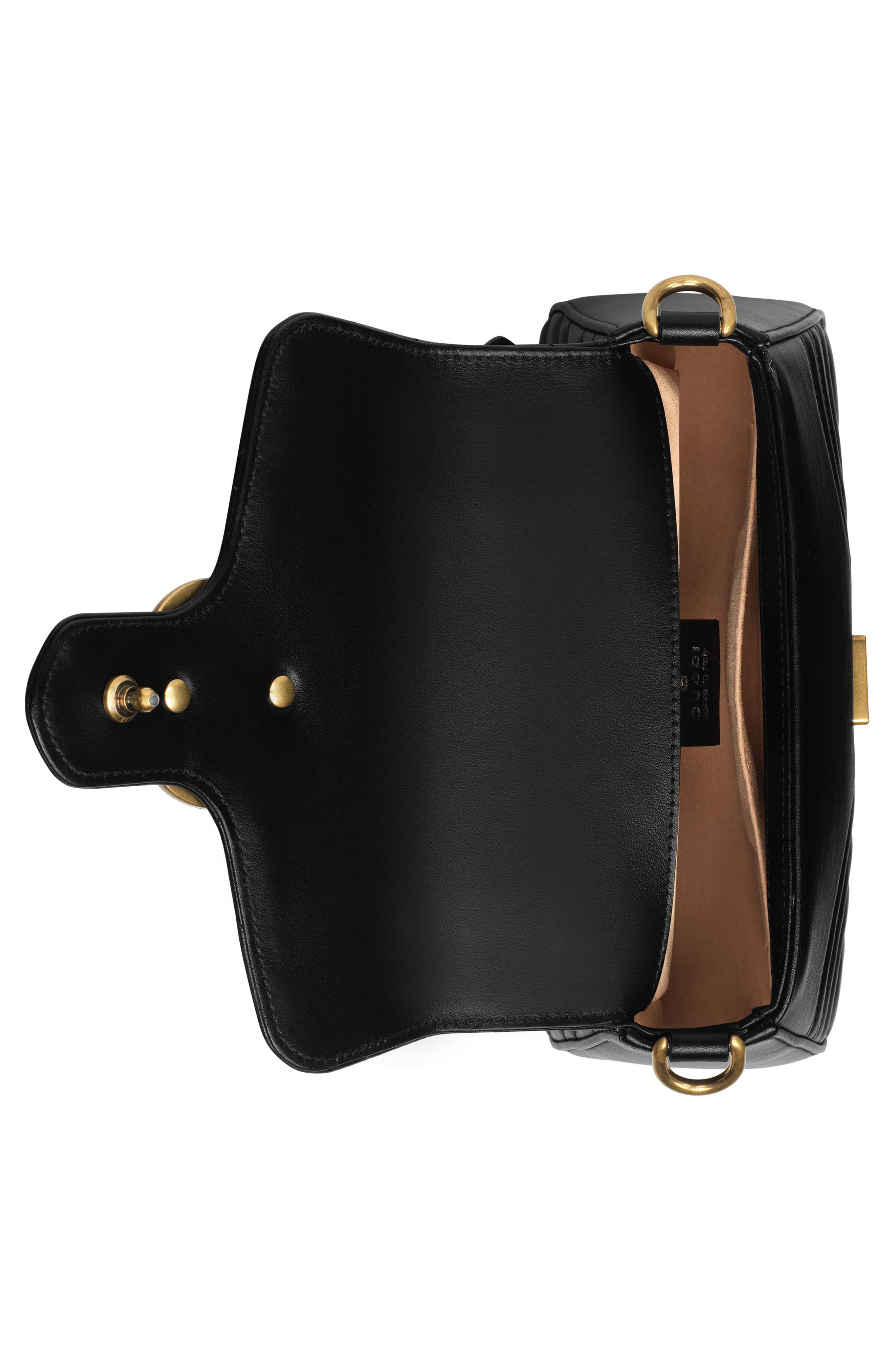 Marmont 2.0 Leather Top Handle Bag,                             Alternate thumbnail 3, color,                             NERO