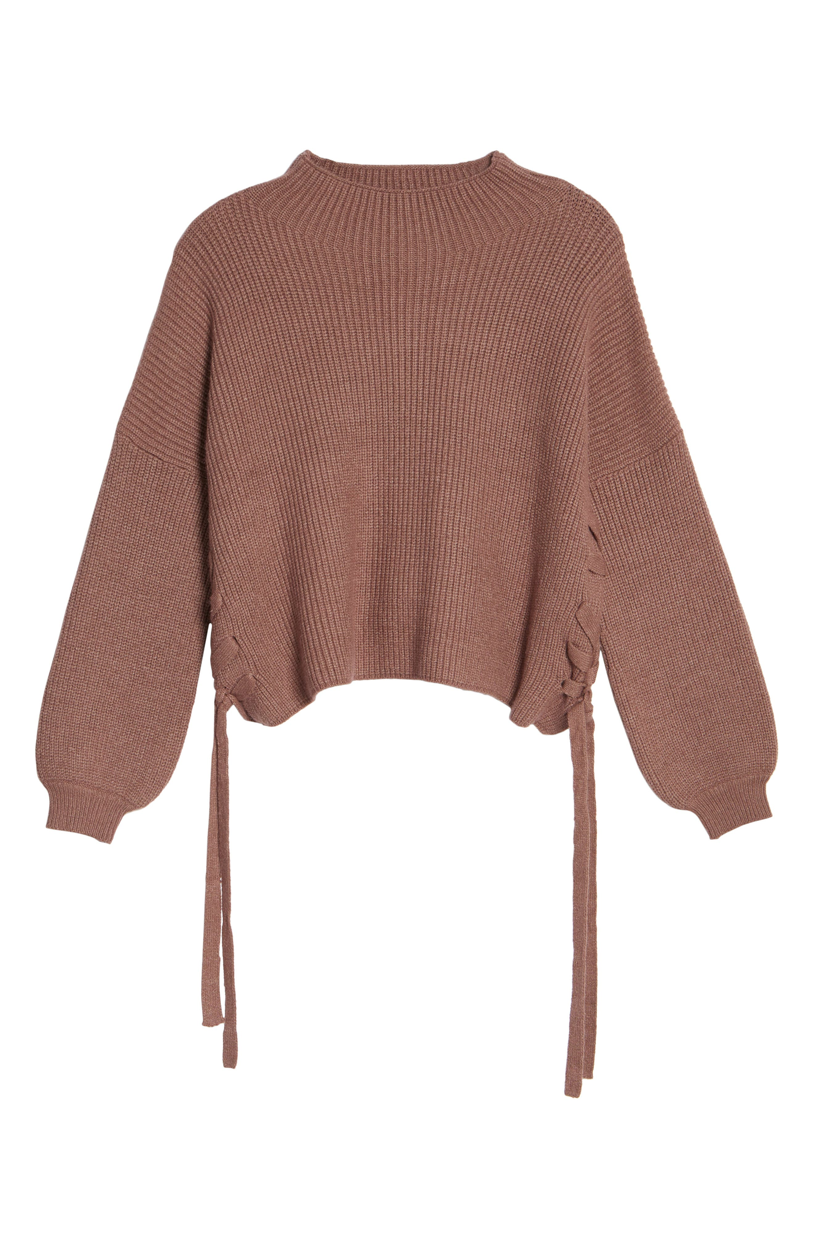 Lace-Up Sweater,                             Alternate thumbnail 6, color,                             530