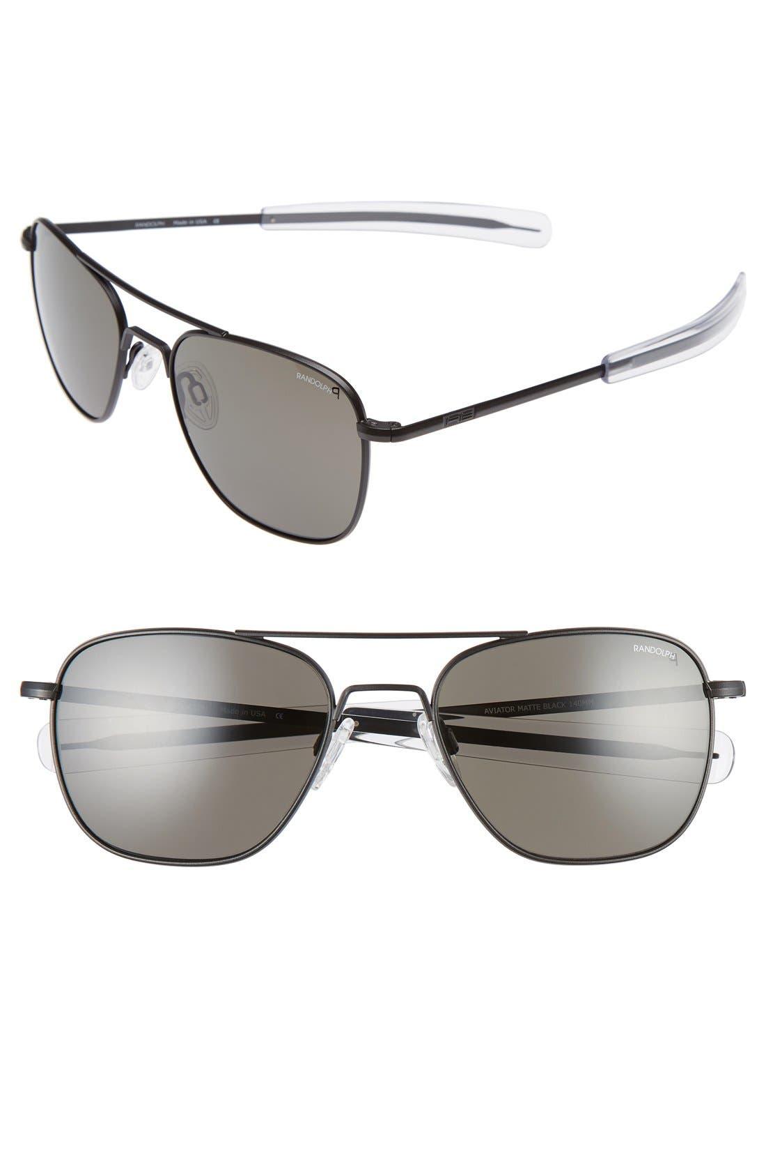 55mm Polarized Aviator Sunglasses,                             Main thumbnail 1, color,                             001