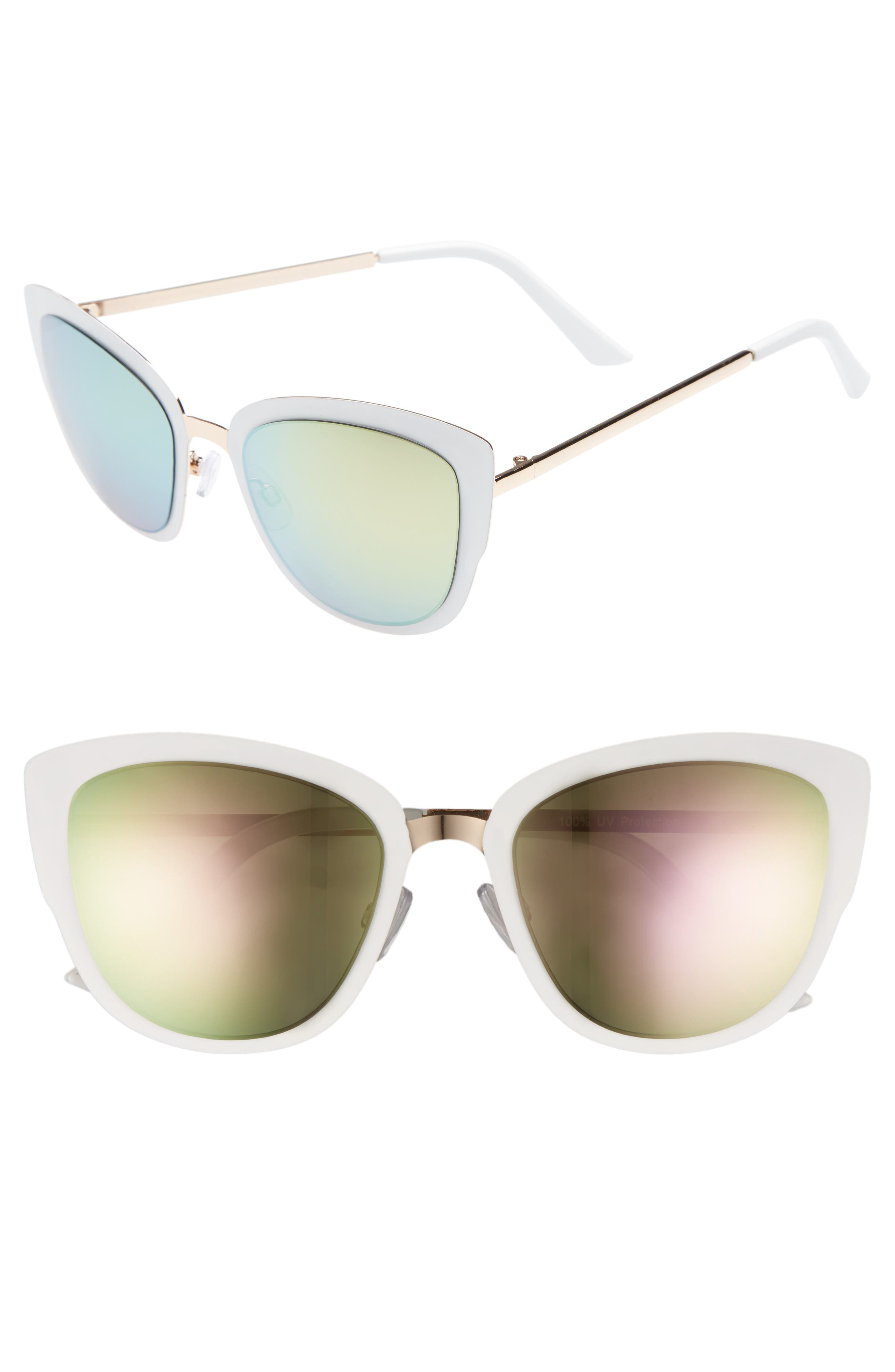 59mm Cat Eye Sunglasses,                         Main,                         color, GOLD/ WHITE