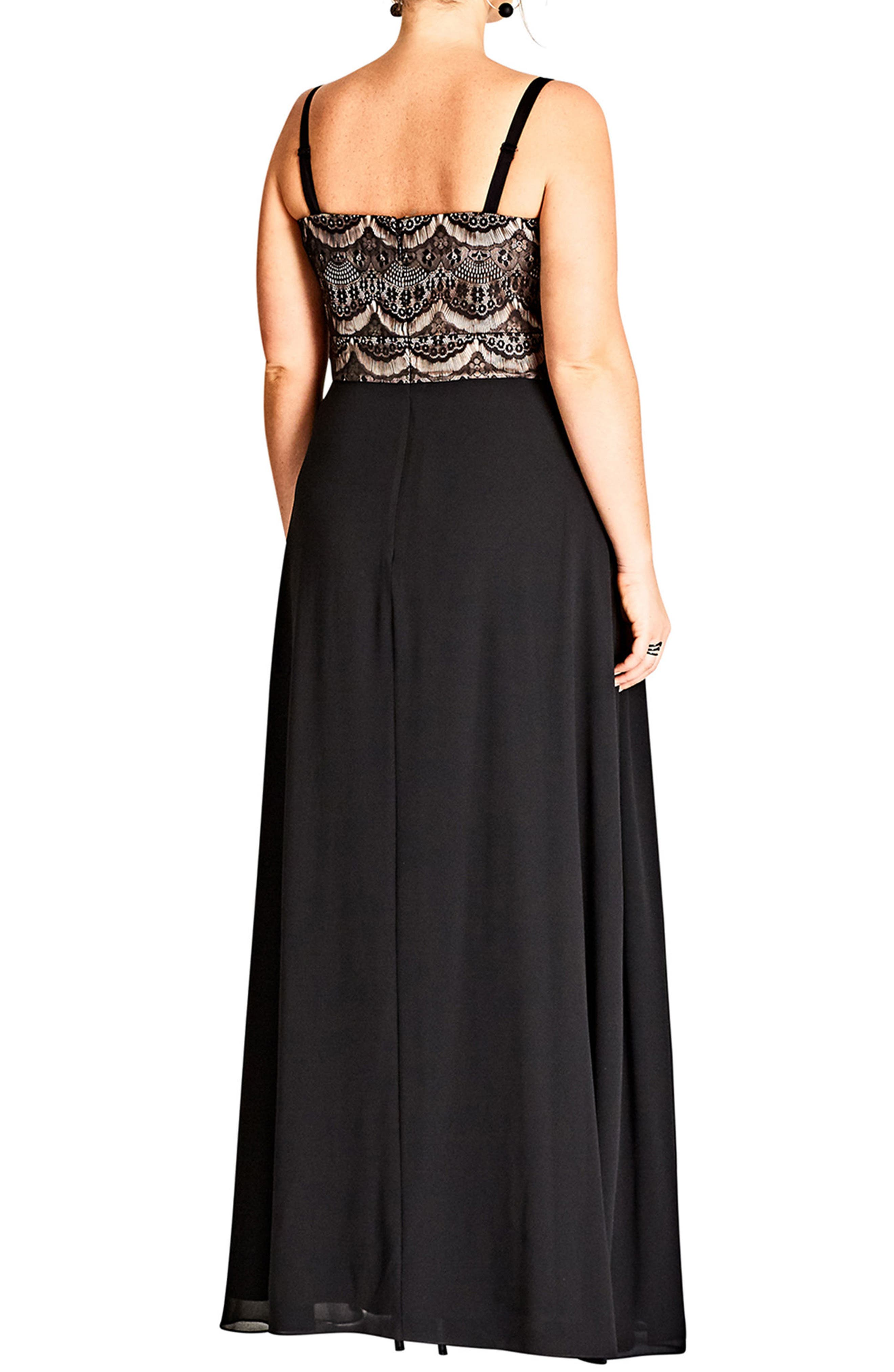 Eyelash Ebony Lace & Chiffon Gown,                             Alternate thumbnail 2, color,                             BLACK