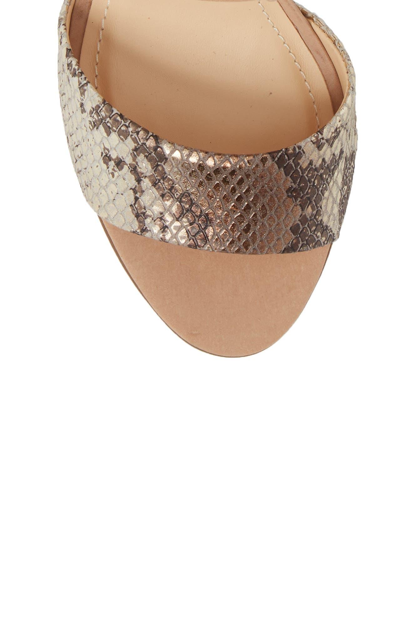 Kaira Ankle Wrap Sandal,                             Alternate thumbnail 5, color,                             SNAKE PRINT LEATHER