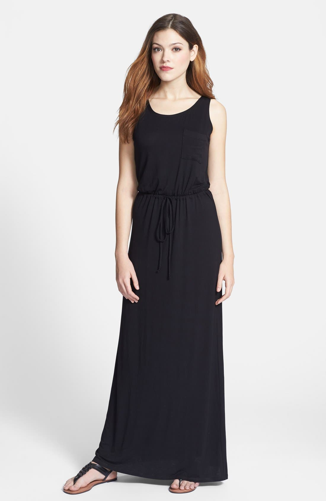 Drawstring Jersey Maxi Dress,                             Main thumbnail 1, color,                             001