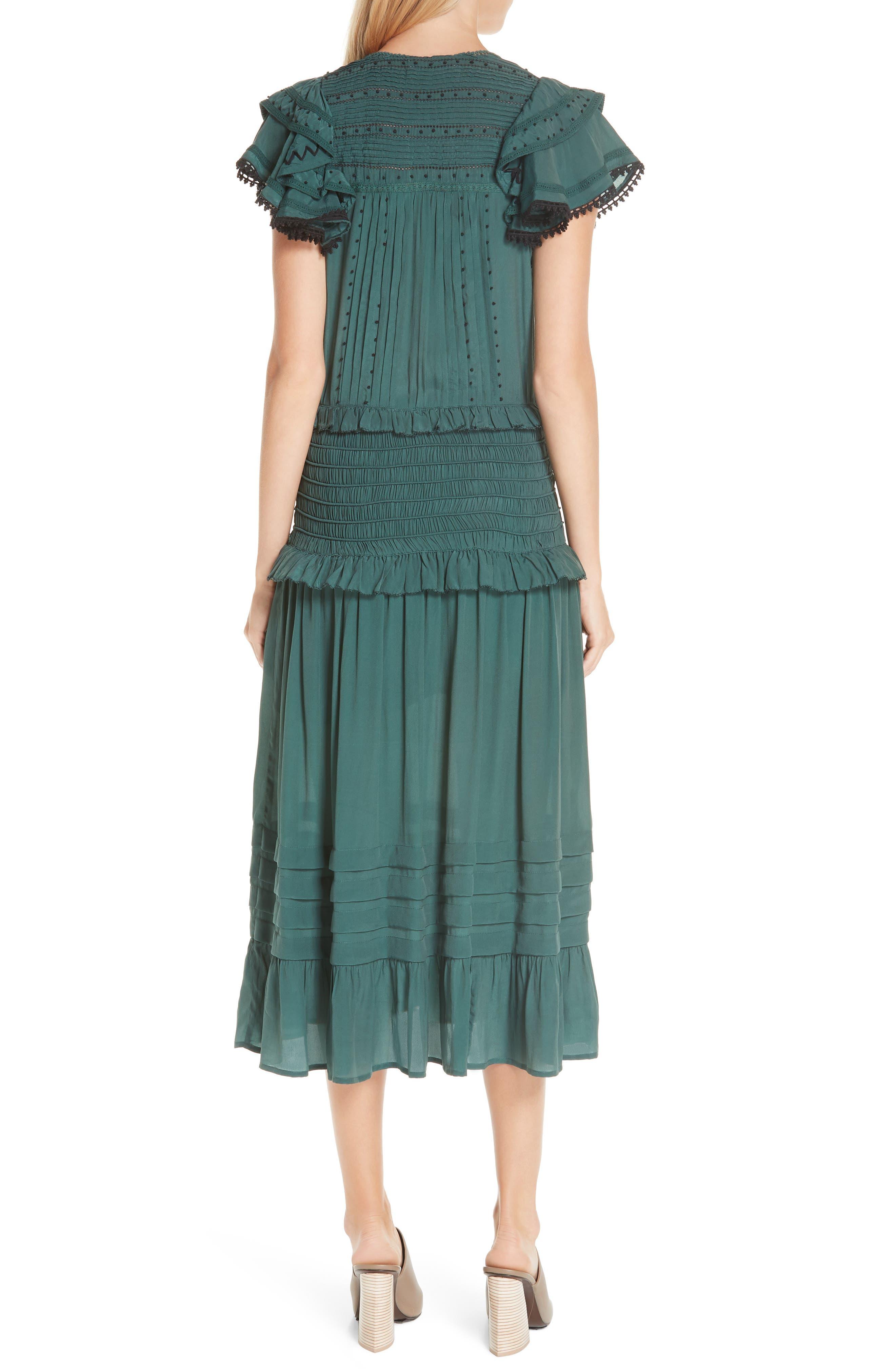 Azzedine Flutter Sleeve Smocked Midi Dress,                             Alternate thumbnail 2, color,                             FOREST