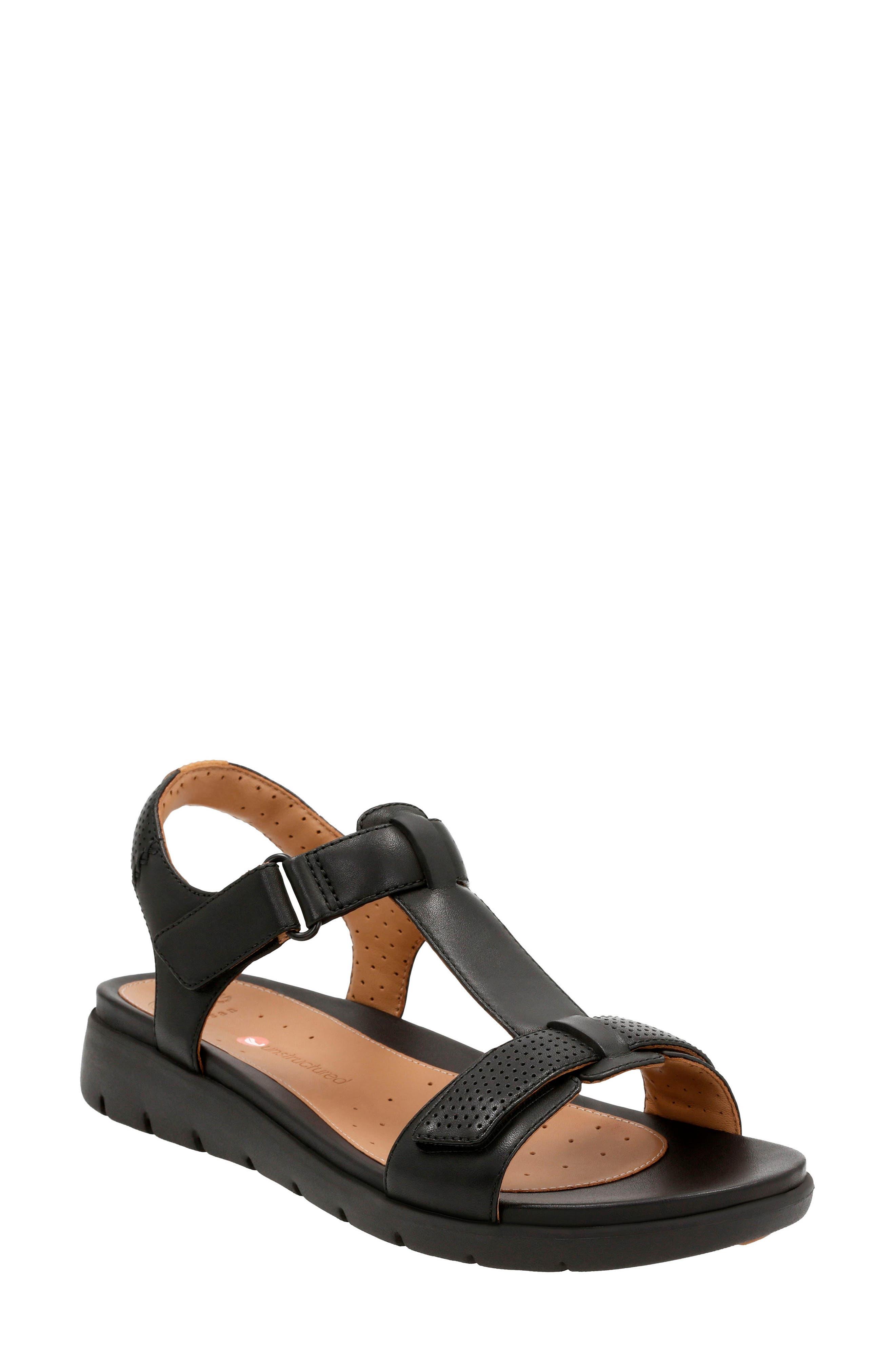CLARKS<SUP>®</SUP>,                             Un Haywood T-Strap Sandal,                             Main thumbnail 1, color,                             003