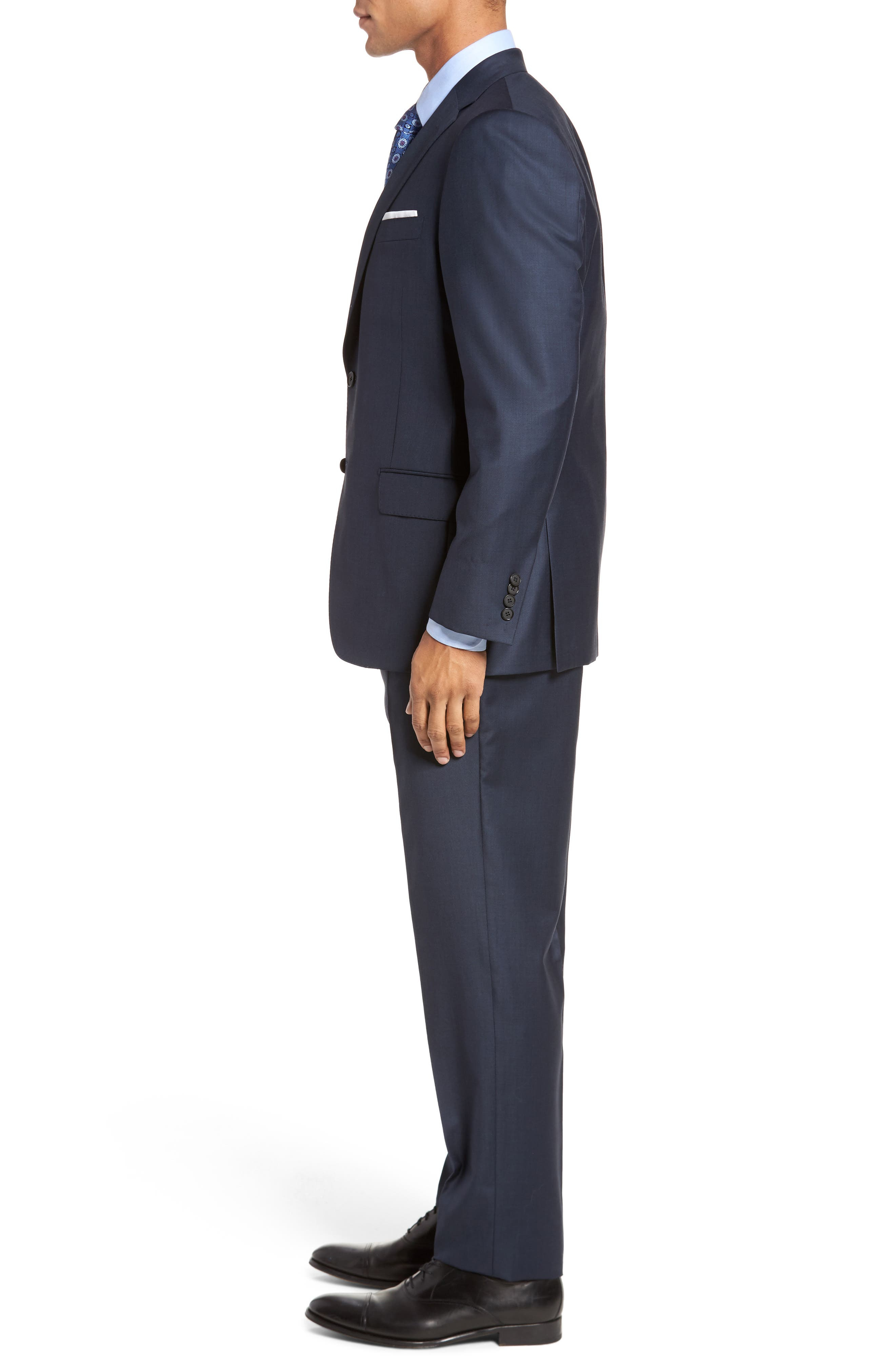 Classic B Fit Solid Loro Piana Wool Suit,                             Alternate thumbnail 3, color,                             NAVY SHARKSKIN