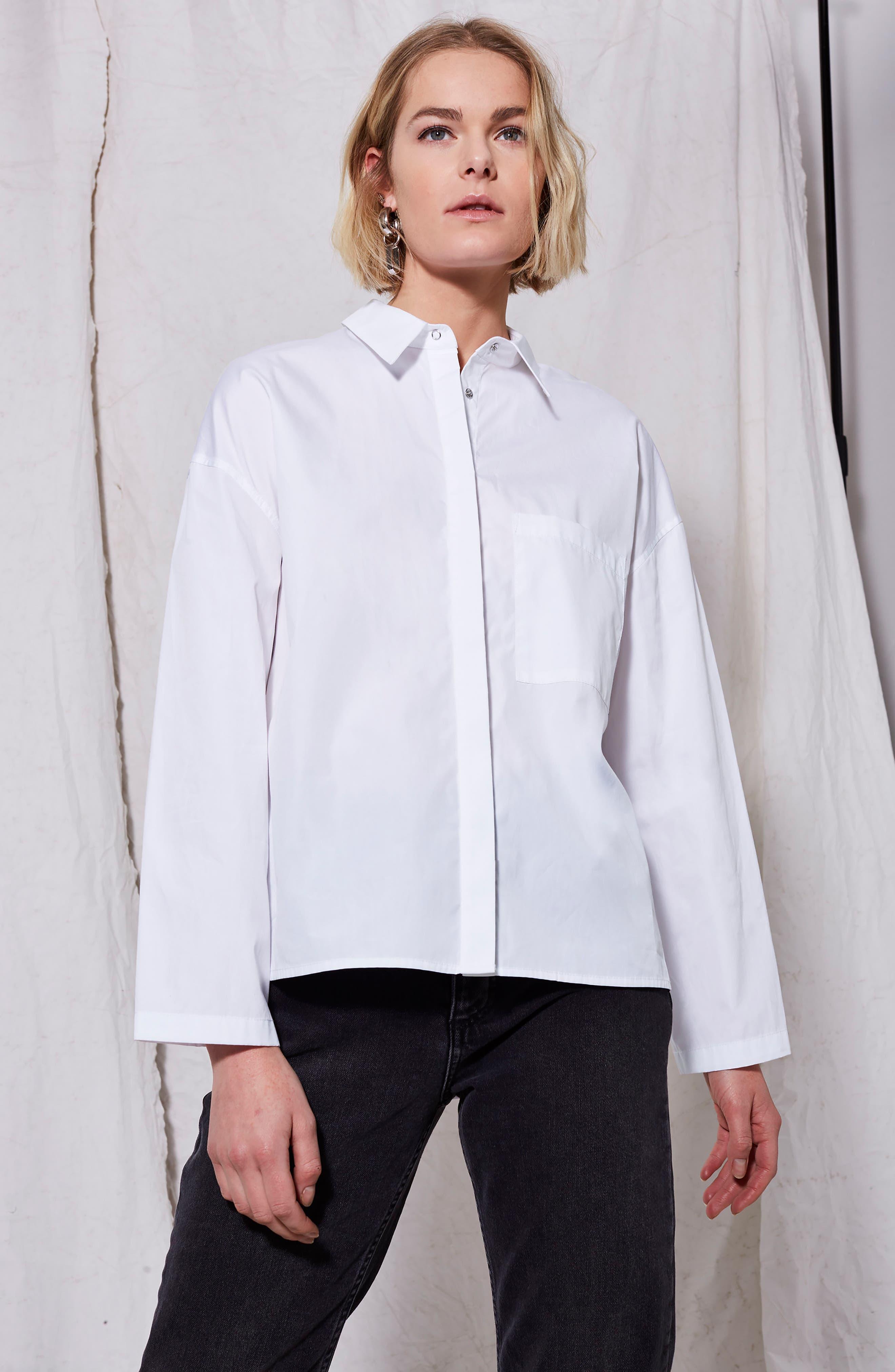 Popper Sleeve Boxy Shirt,                             Alternate thumbnail 4, color,                             100