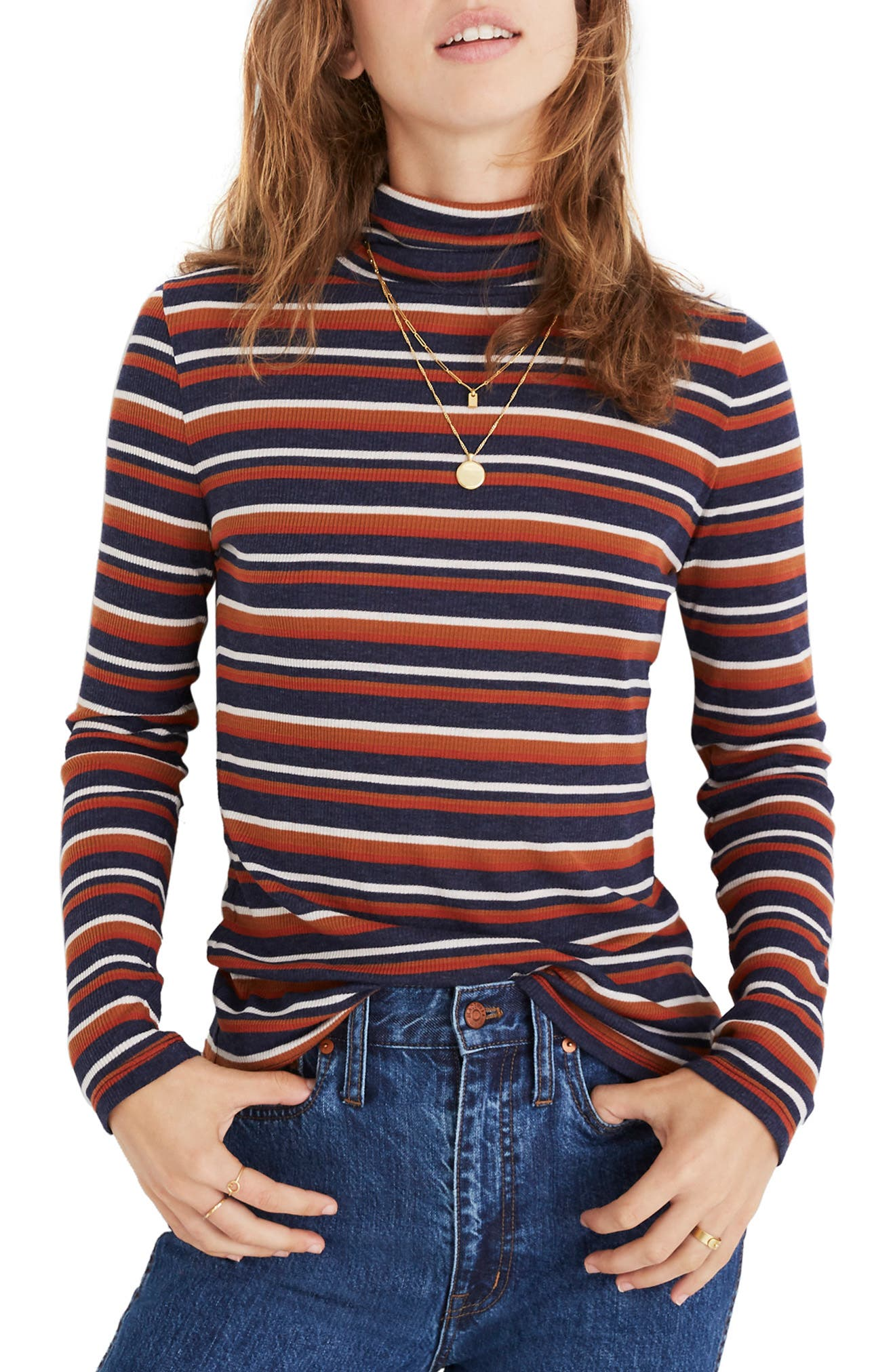 MADEWELL Fine Rib Stripe Turtleneck, Main, color, 200