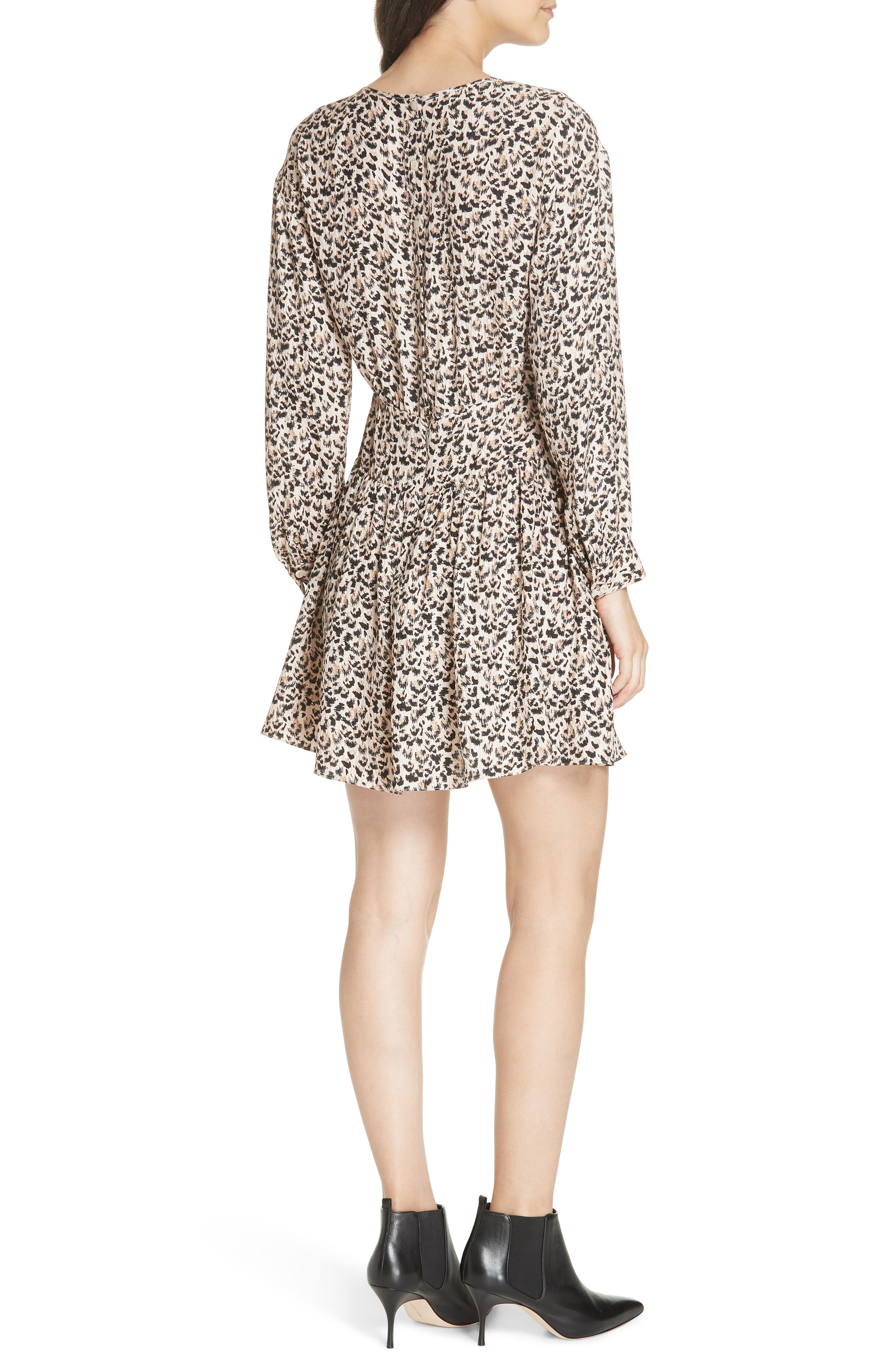 Leopard Print Silk Dress,                             Alternate thumbnail 2, color,                             CARAMEL COMBO