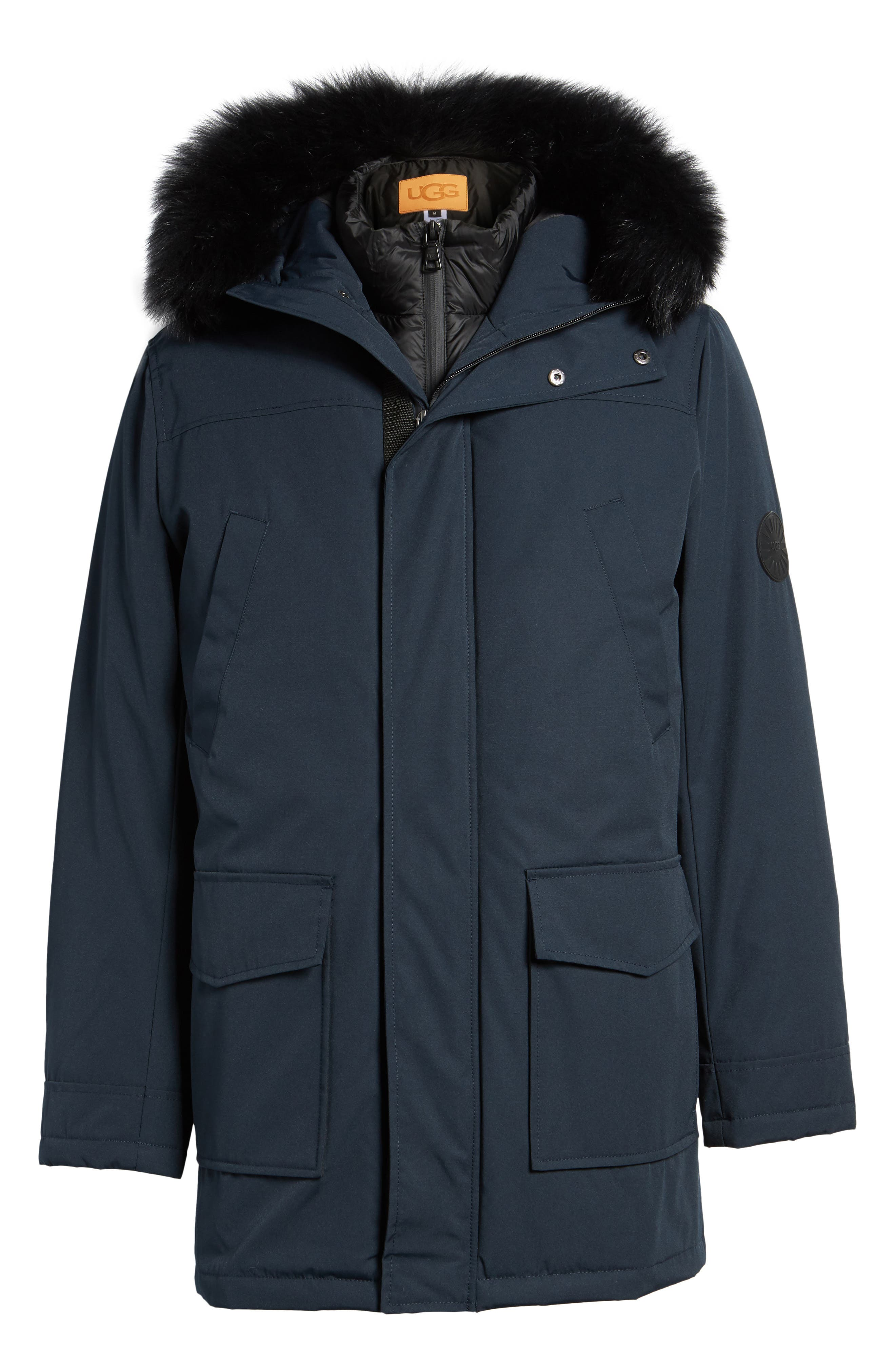 Butte Water-Resistant Down Parka with Genuine Shearling Trim,                             Alternate thumbnail 5, color,                             001