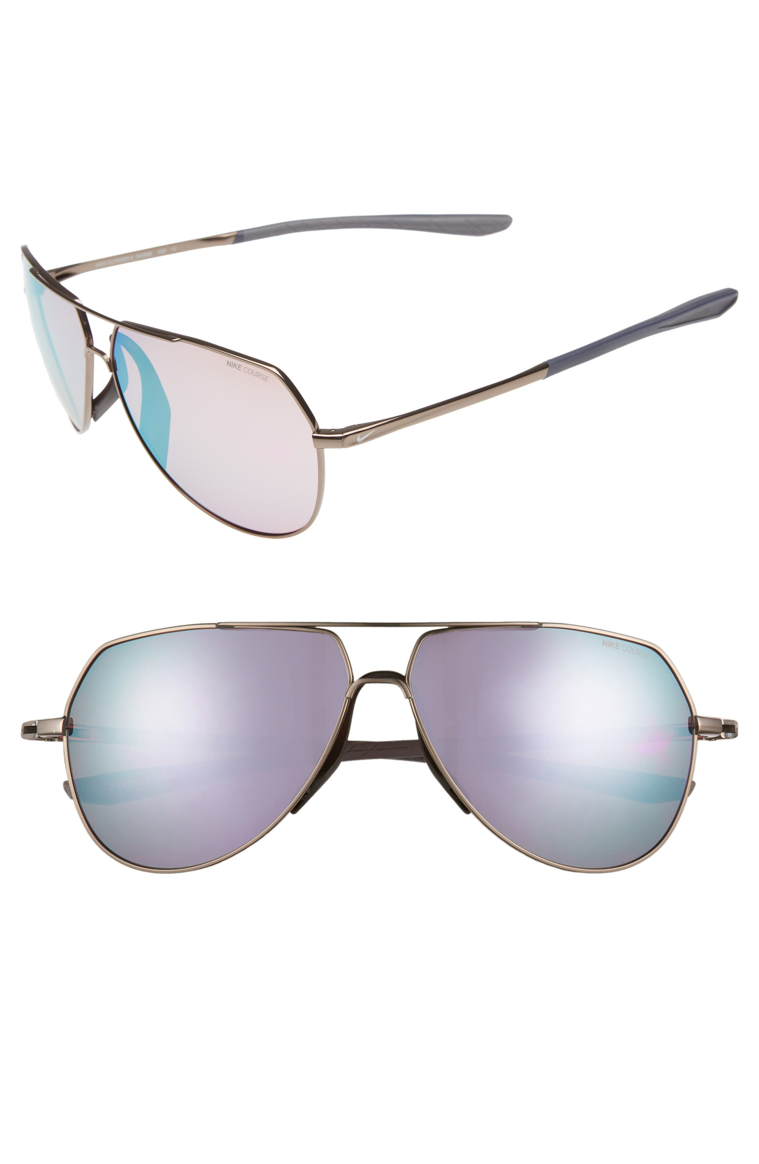 Outrider E 62mm Oversize Aviator Sunglasses,                             Main thumbnail 1, color,                             PEWTER/ GOLF MILKY BLUE