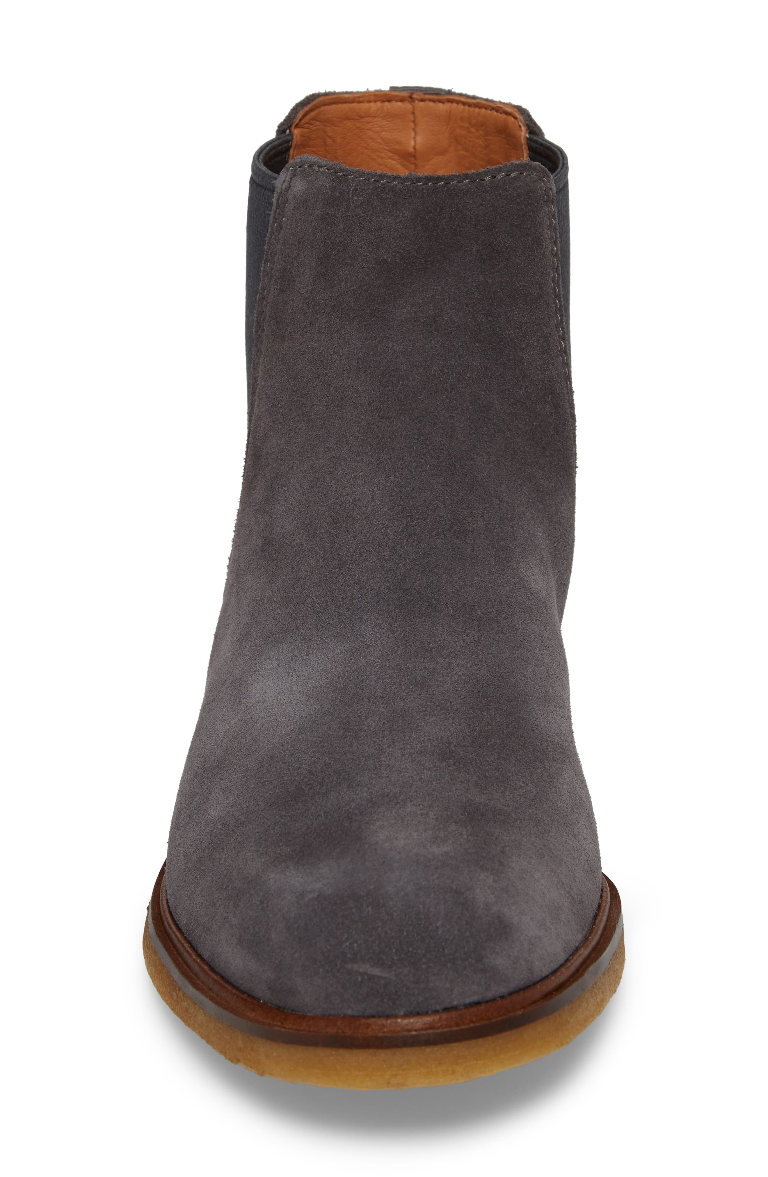Clarkdale Chelsea Boot,                             Alternate thumbnail 4, color,                             GREY SUEDE