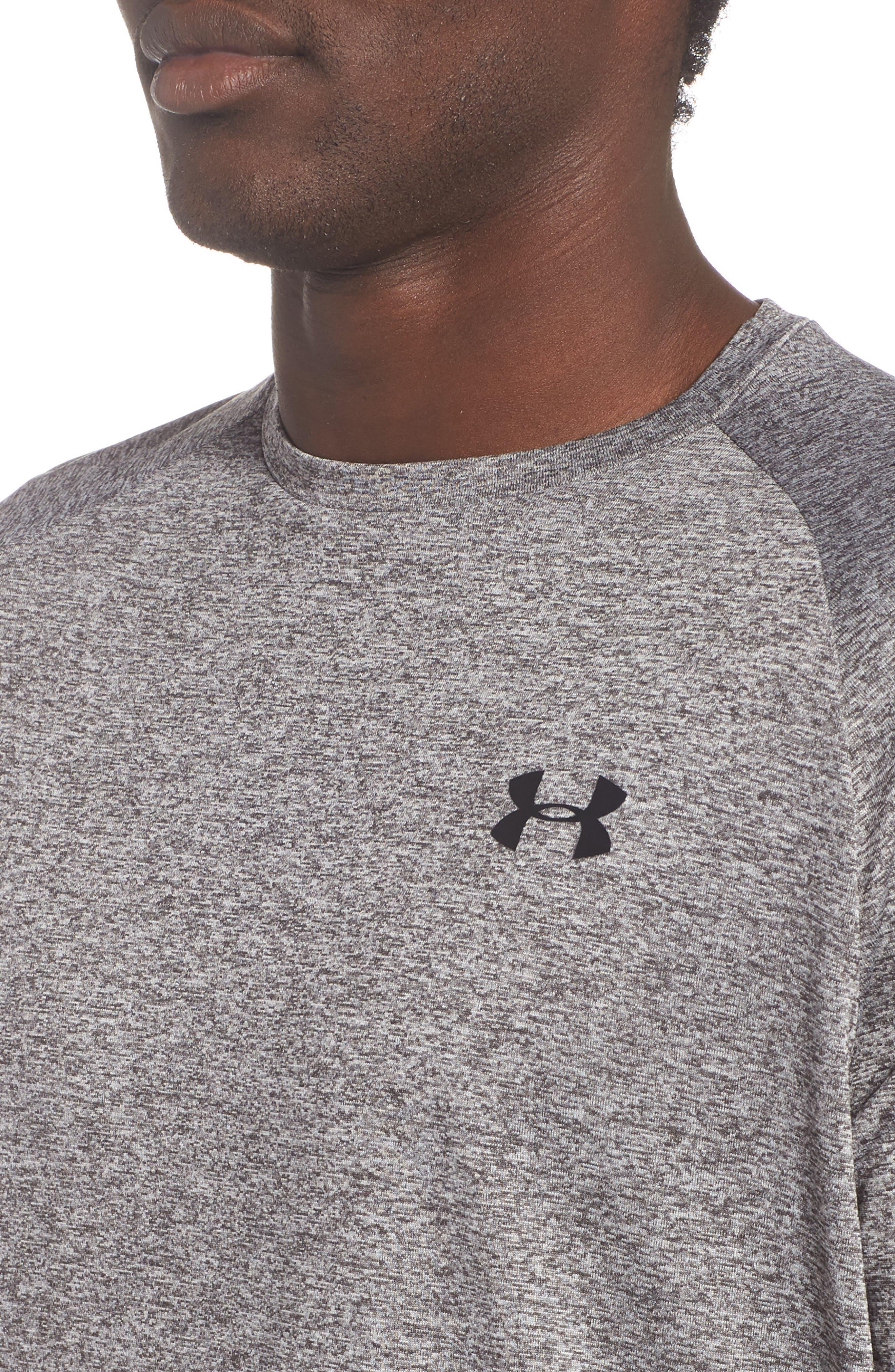 UA Tech<sup>™</sup> T-Shirt,                             Alternate thumbnail 4, color,                             CHARCOAL LIGHT HEATHER