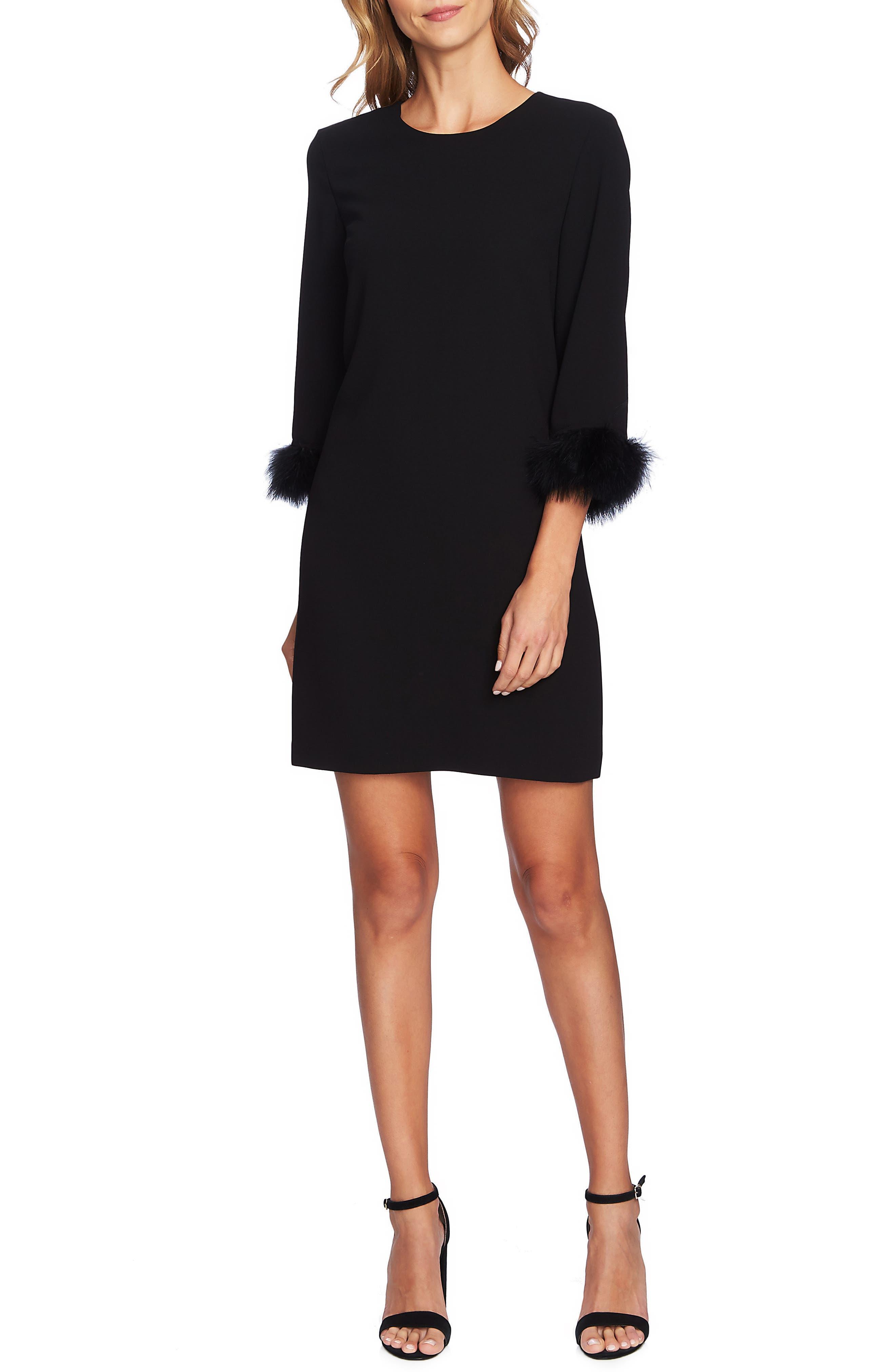 Feather Detail Crepe Dress,                         Main,                         color, RICH BLACK