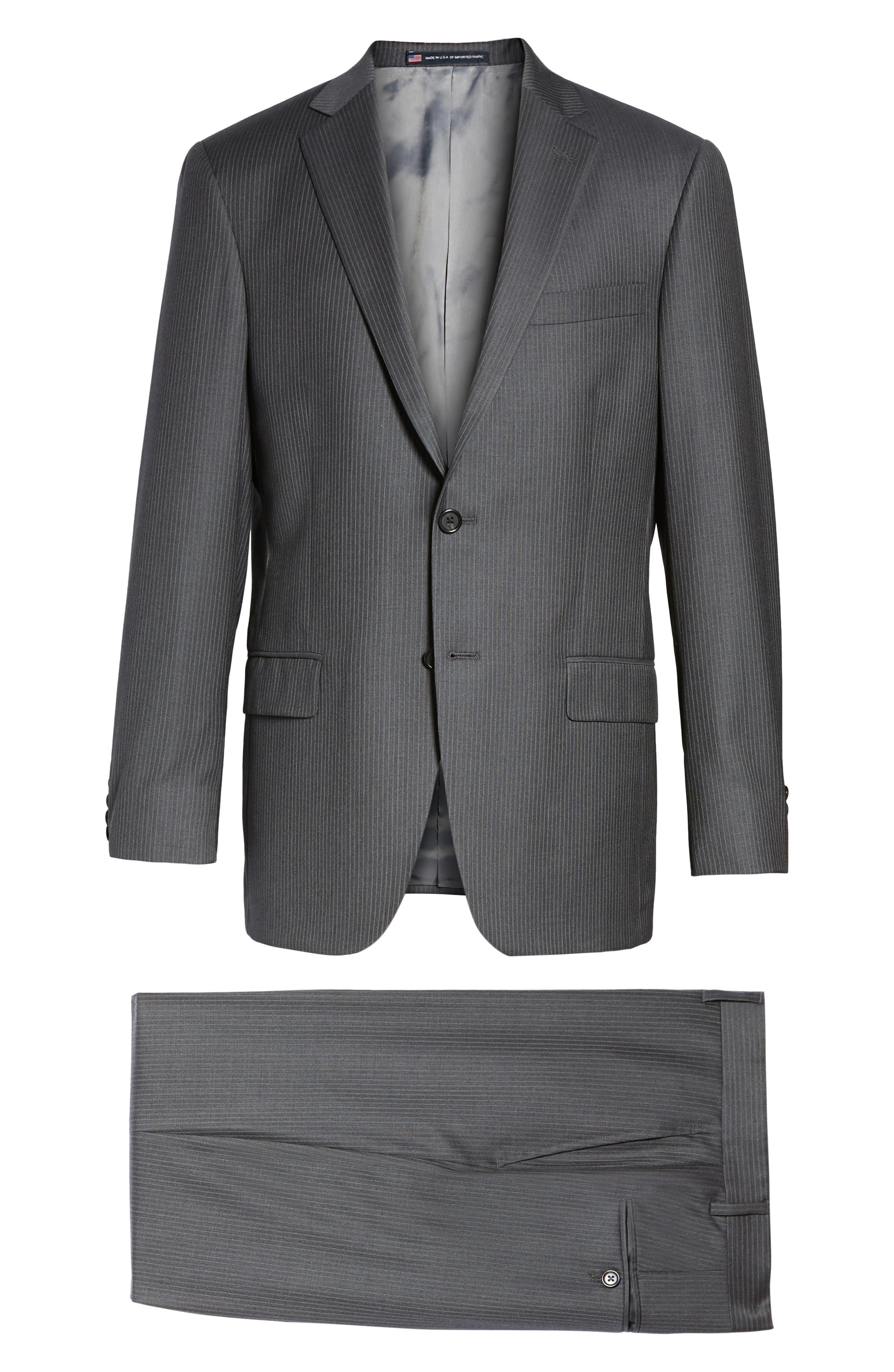 Classic Fit Stripe Wool Suit,                             Alternate thumbnail 8, color,                             030