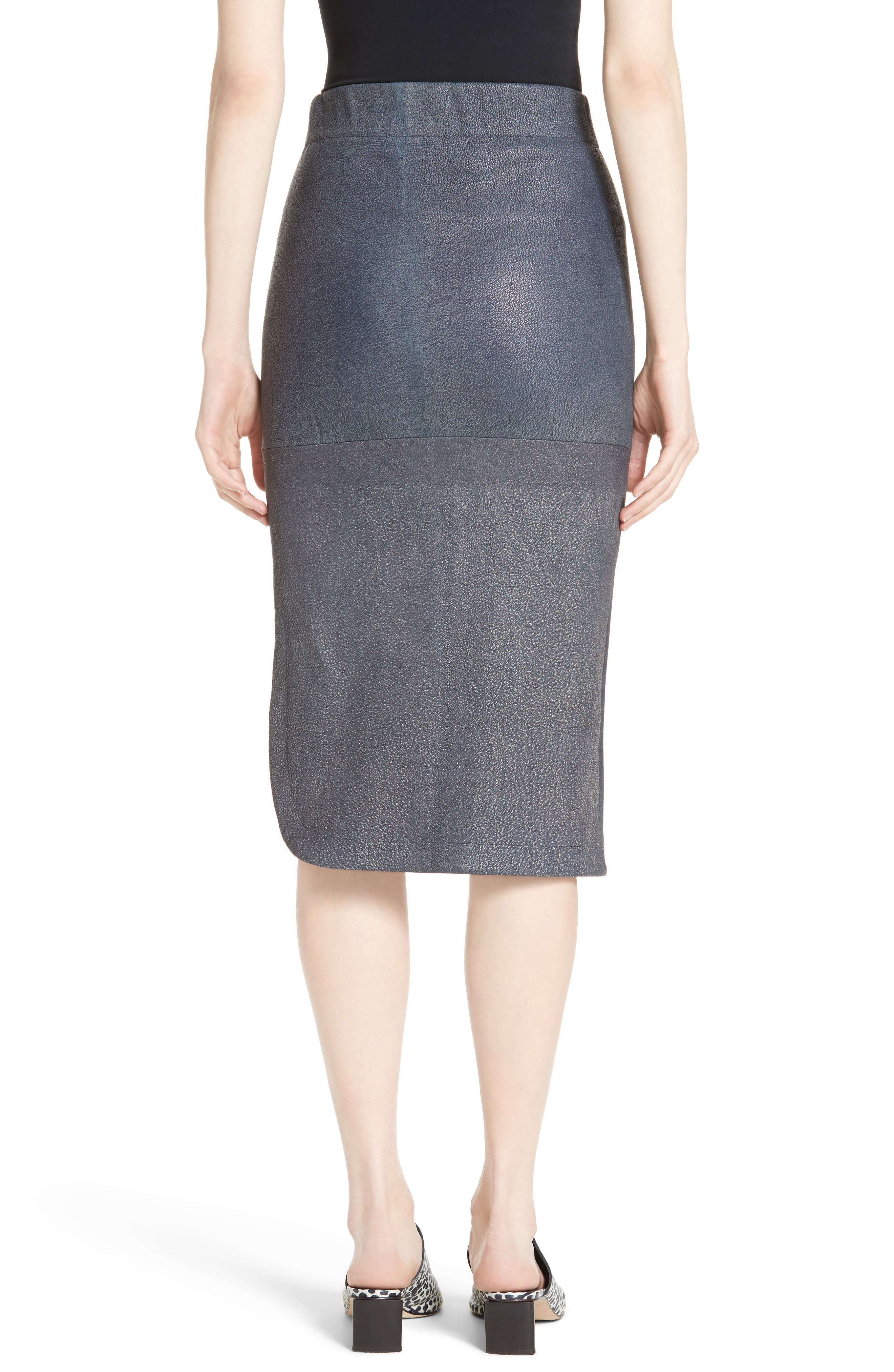 Rai Leather Curved Skirt,                             Alternate thumbnail 2, color,                             400