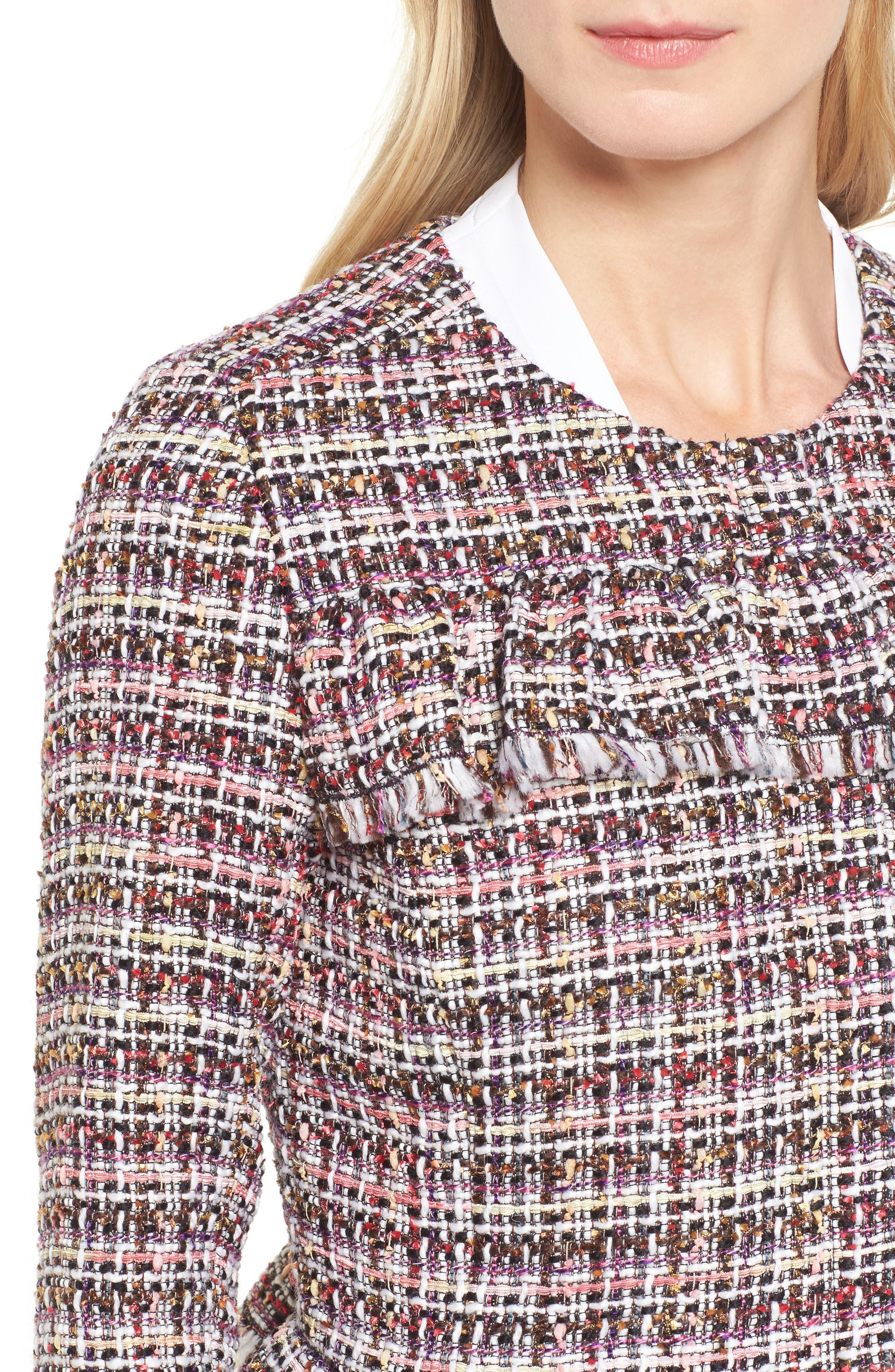 Ruffle Detail Tweed Jacket,                             Alternate thumbnail 4, color,                             660